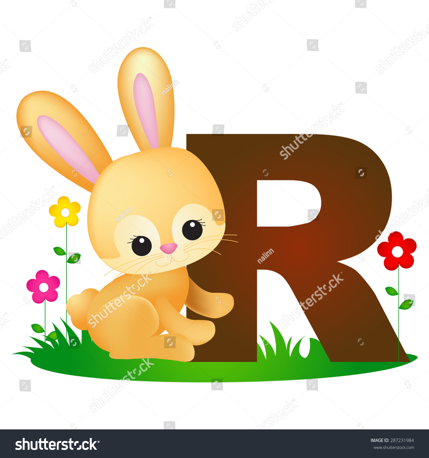 Colorful Animal Alphabet Letter R Cute Stock Vector