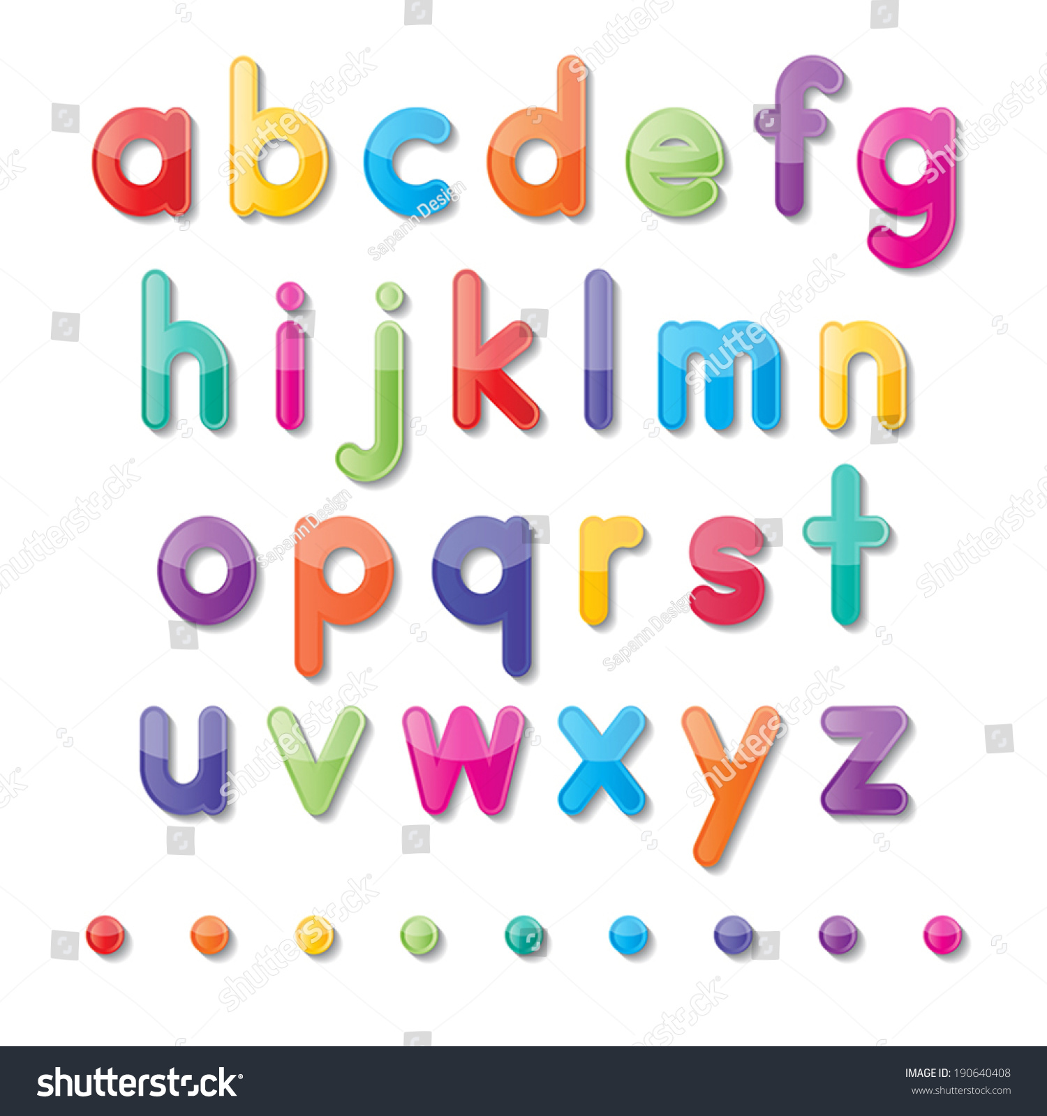 Colorful Paper Small Alphabet Letters A To Z Fonts Vector