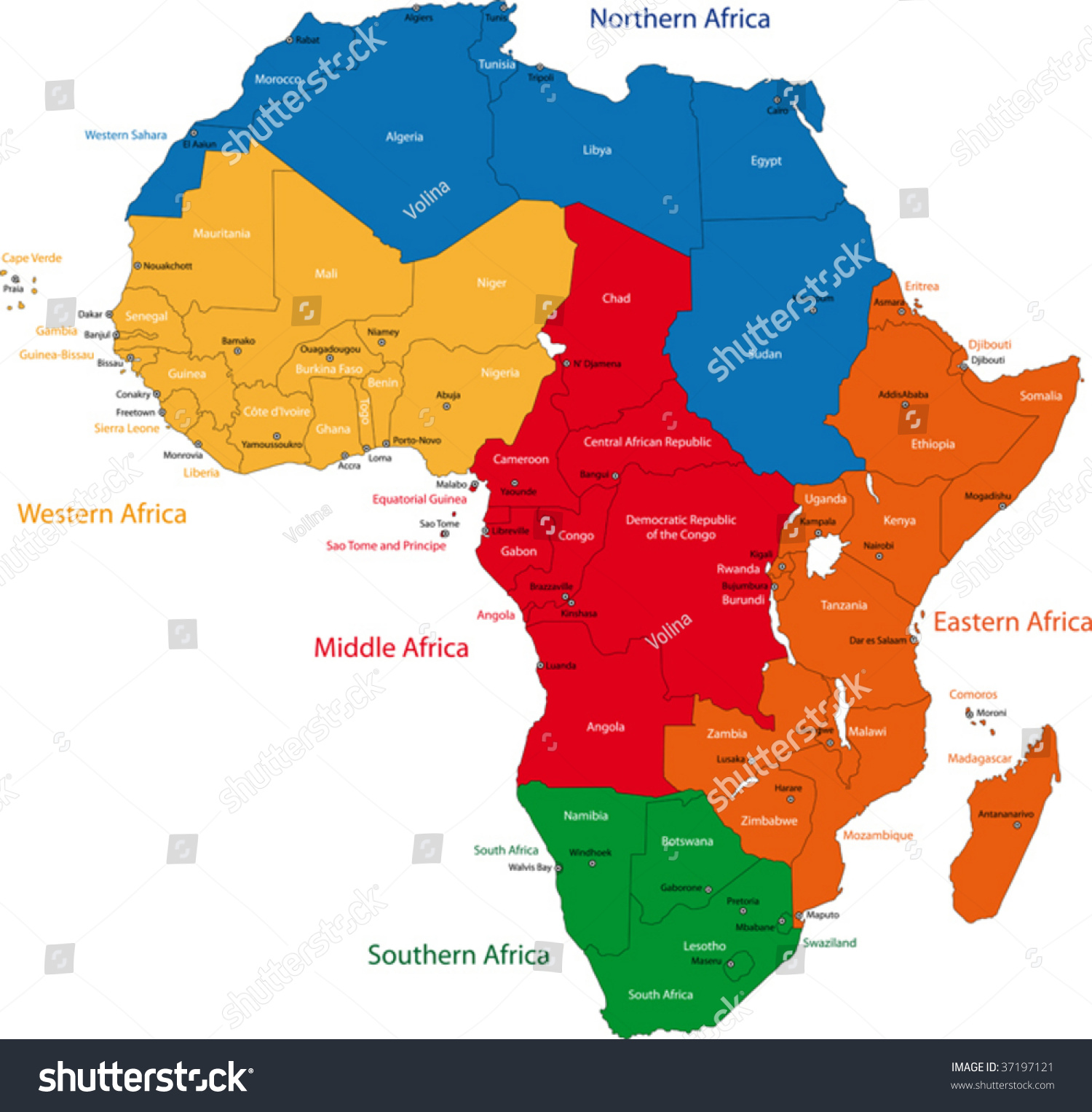 Colorful Regions Of Africa With Countries And Capital