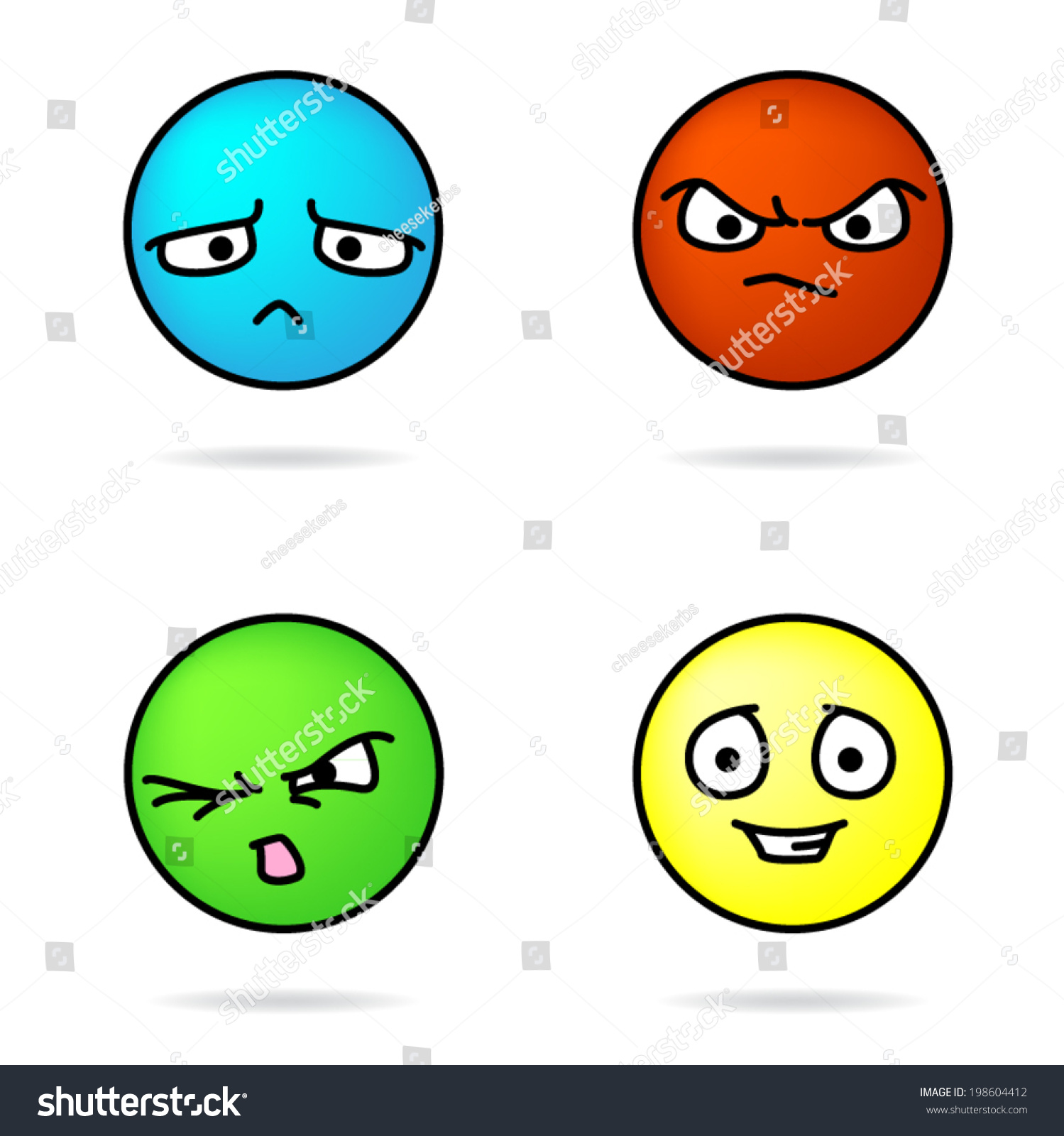 Colorful Vector Sad Angry Disgusted Happy Stock Vector