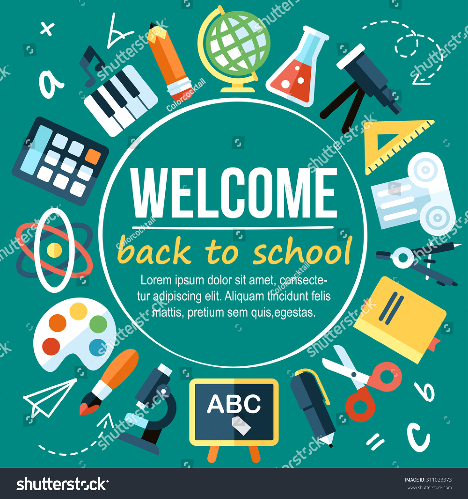 Colorful Vector Welcome Back School Poster Stock Vector