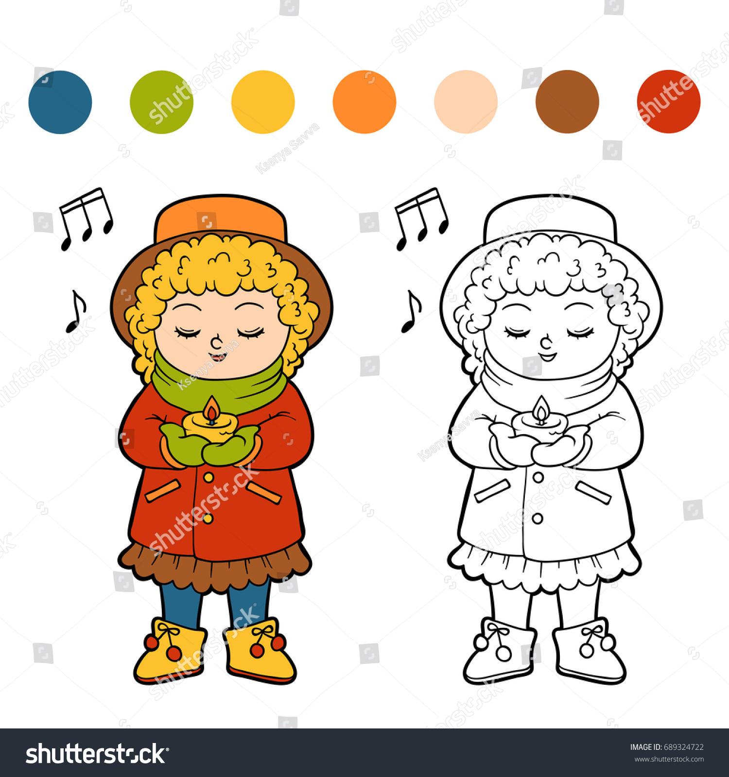 Coloring Book Children Girl Singing Christmas Stock Vector