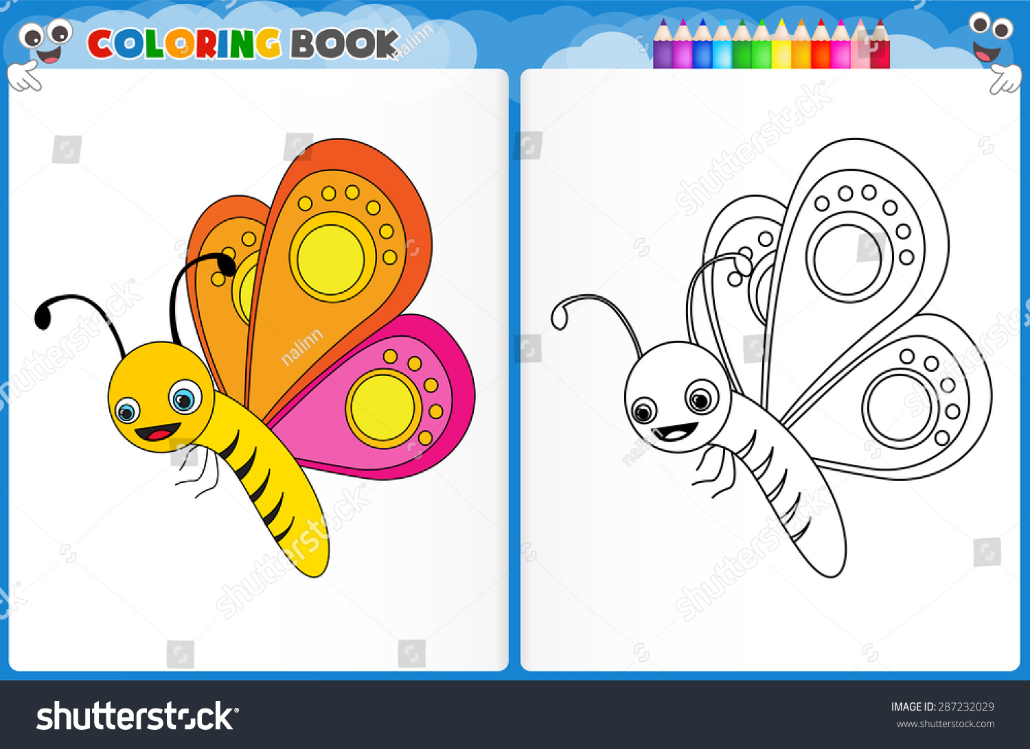Coloring Page Butterfly With Colorful Sample Printable