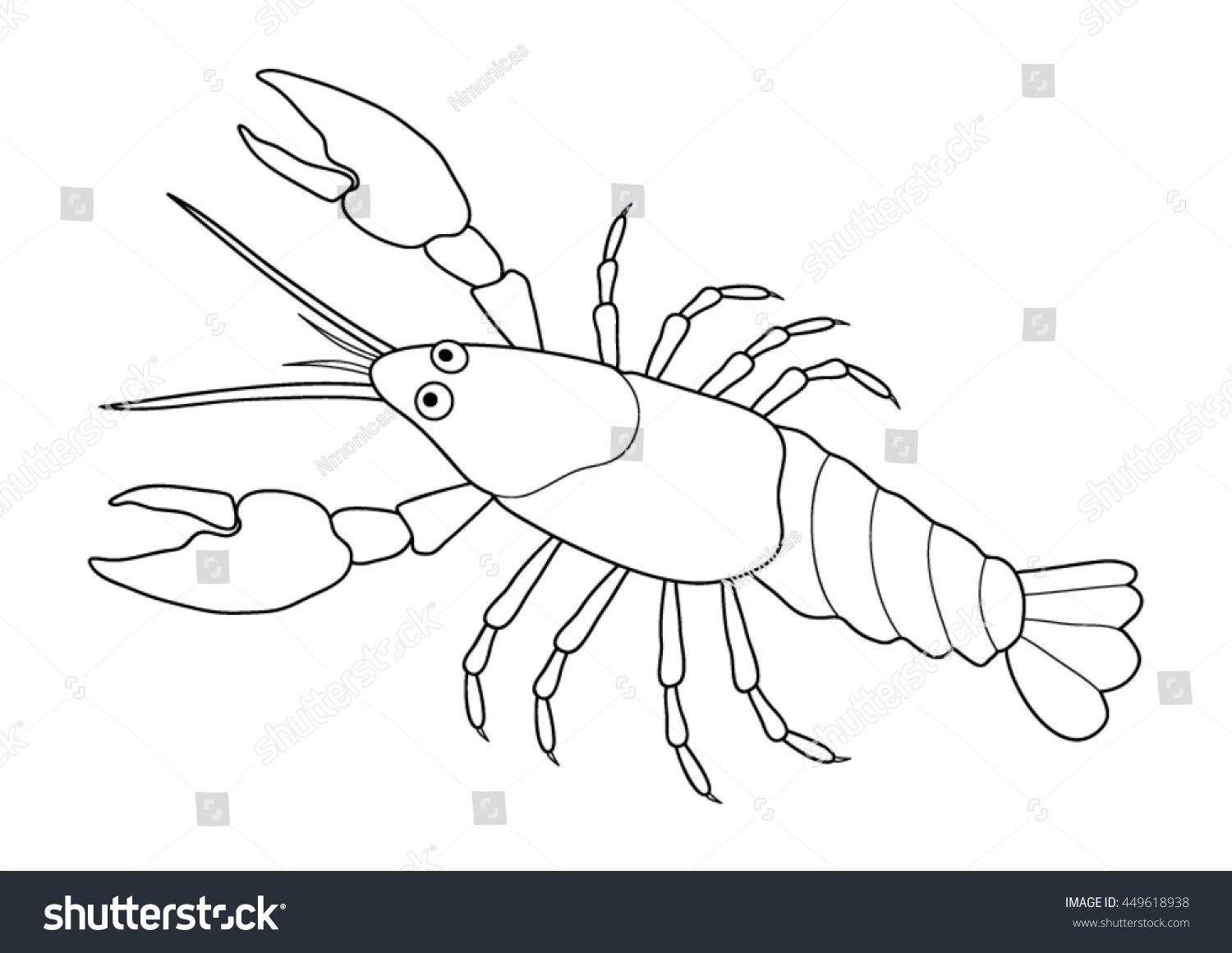 Coloring Page Crayfish Stock Vector 449618938 Shutterstock