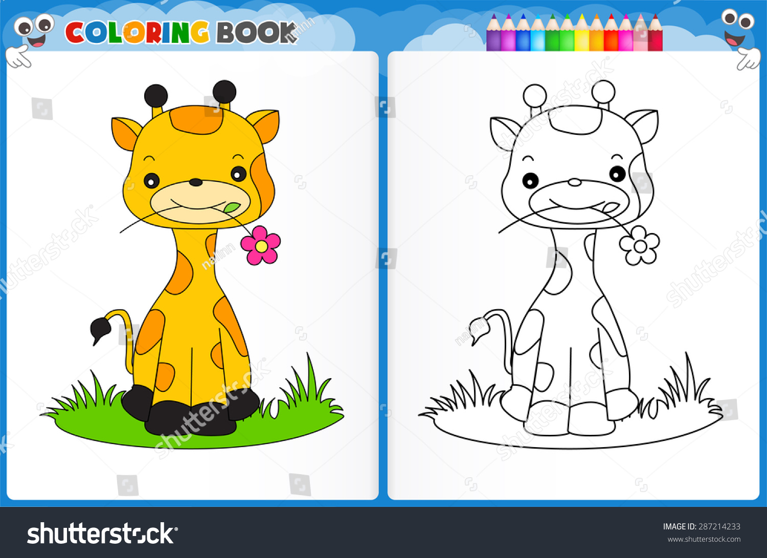 Coloring Page Cute Giraffe Colorful Sample Stock Vector