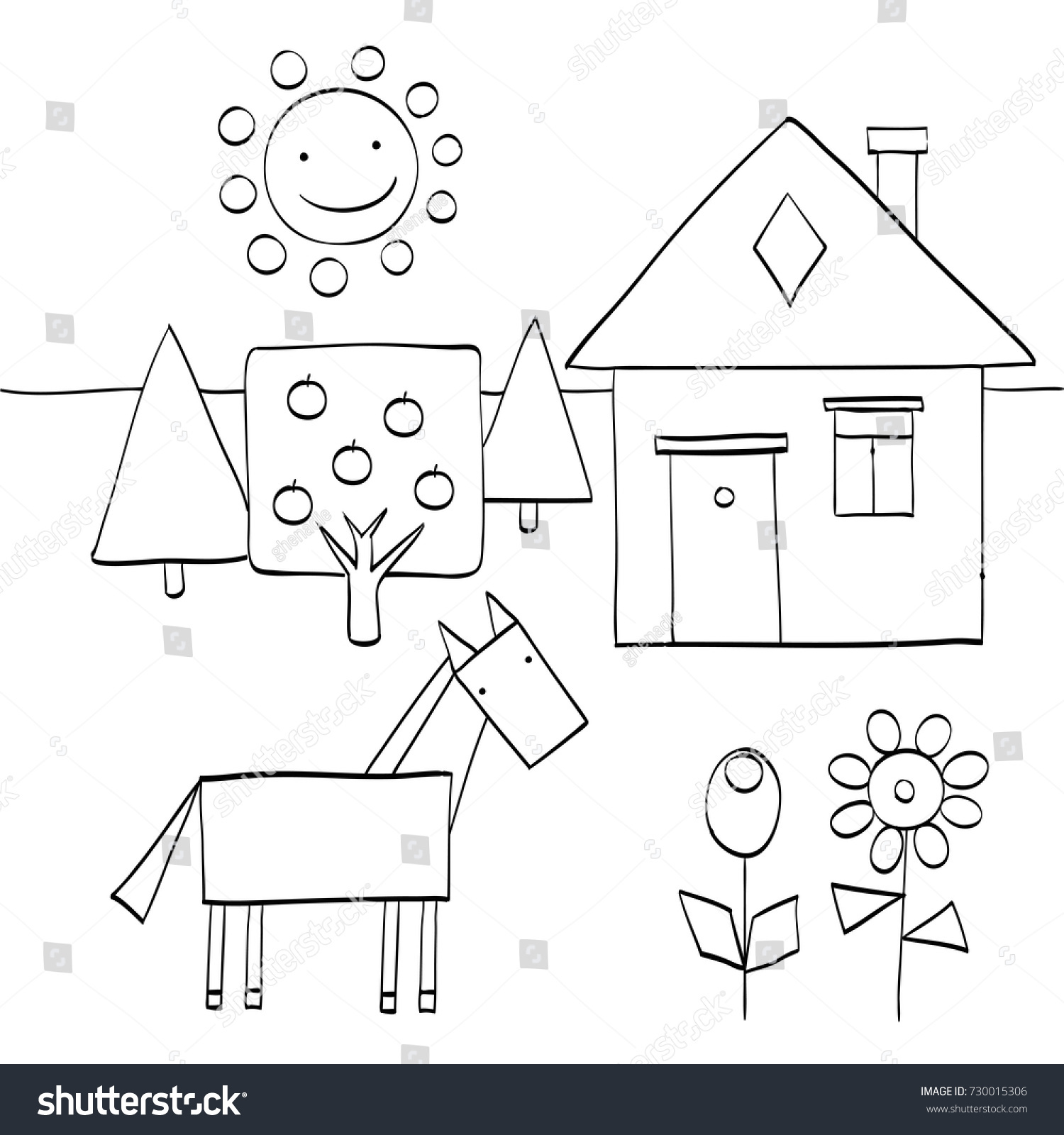 Coloring Page Children Find Geometric Shapes Stock Vector