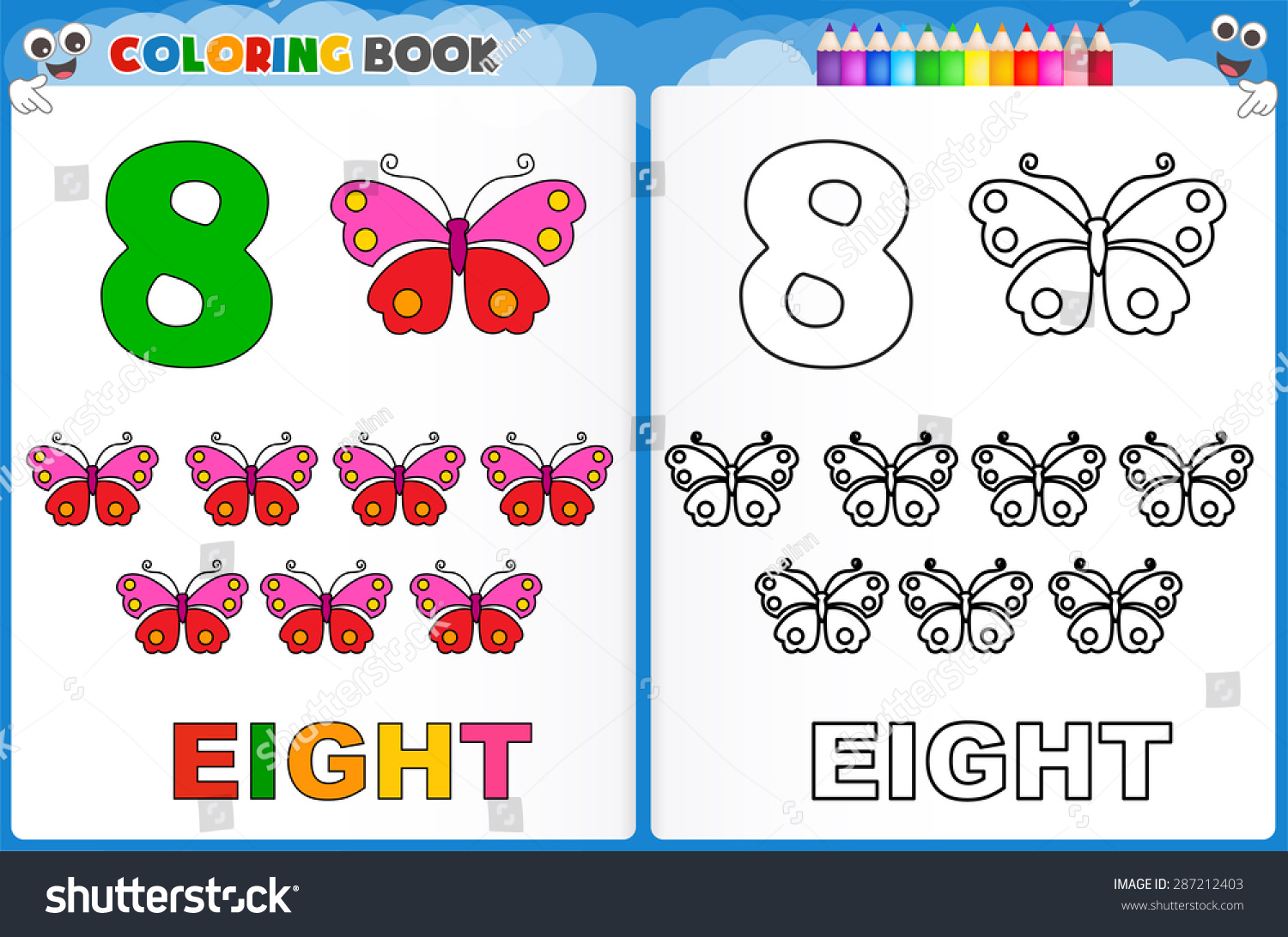 Coloring Page Number Eight Colorful Sample Stock Vector