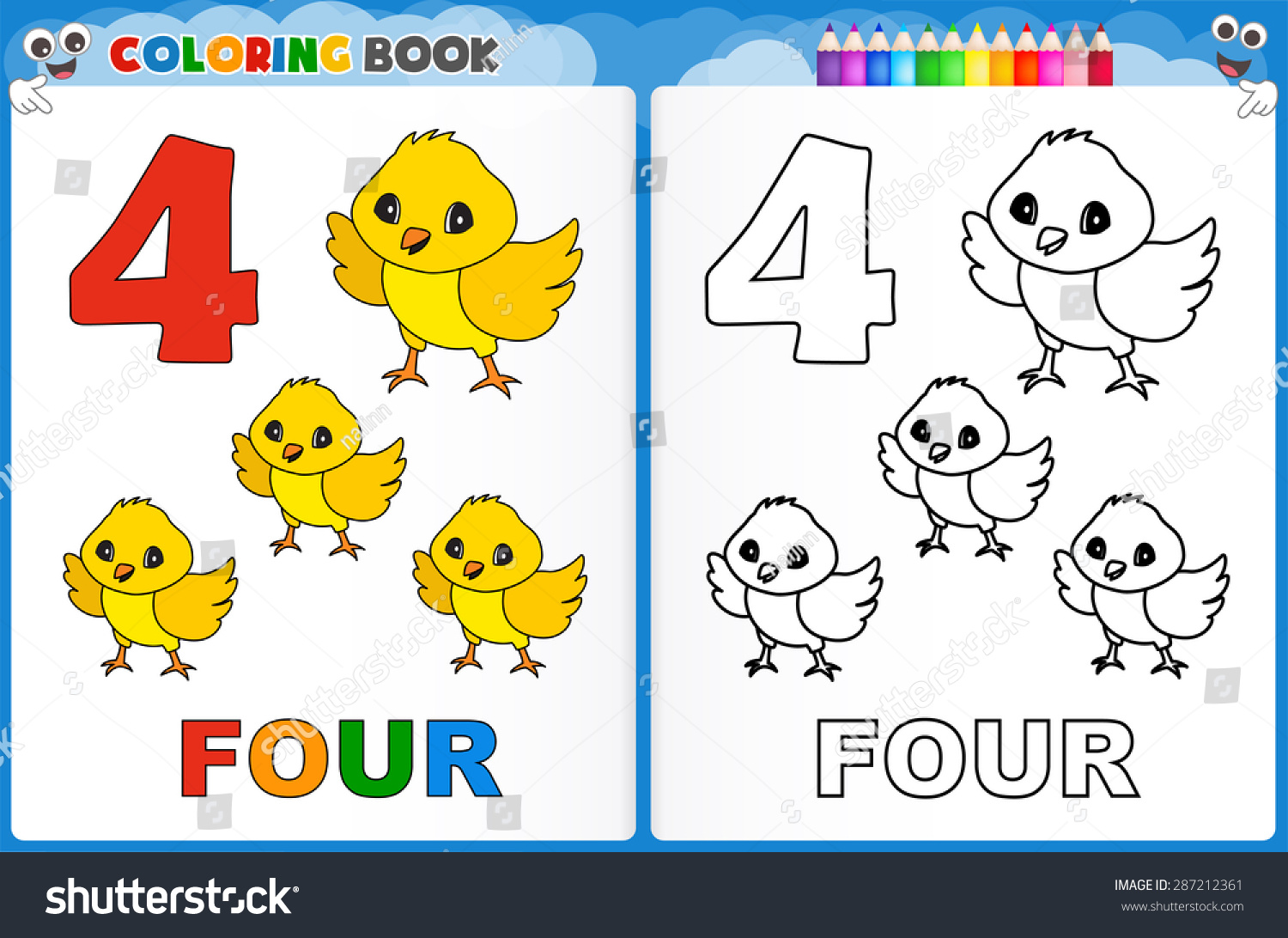 Coloring Page Number Four Colorful Sample Stock Vector