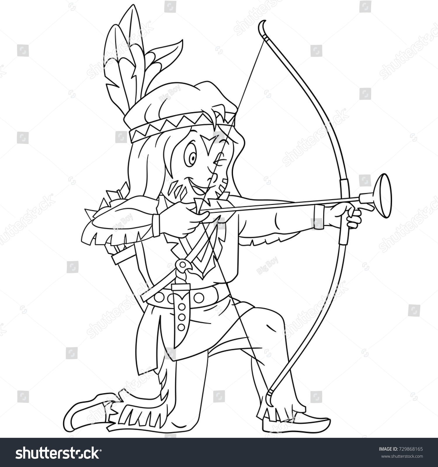Coloring Page Cartoon Native American Indian Stock Vector