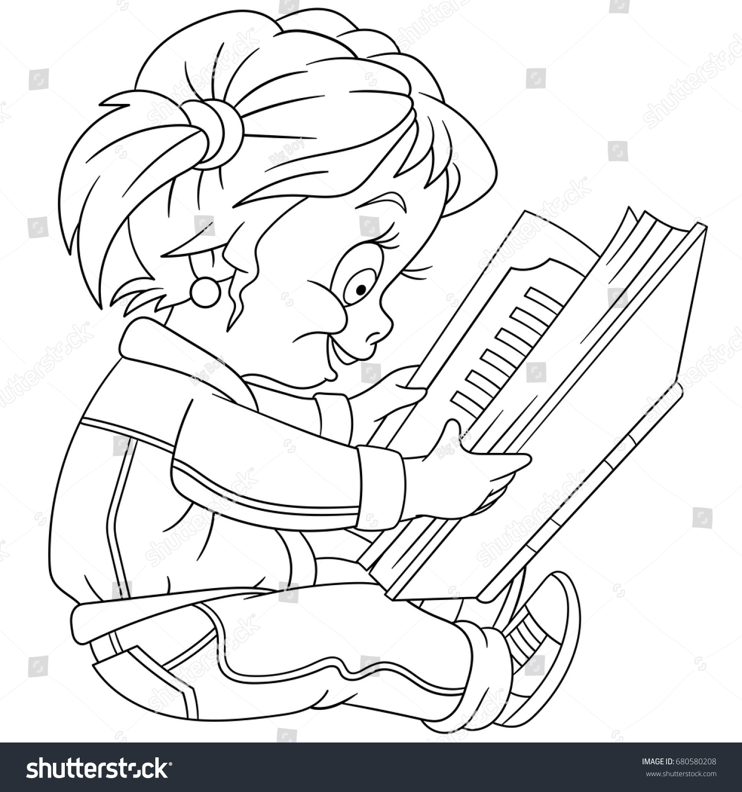 Coloring Page Preschool Girl Reading Book Stock Vector 680580208