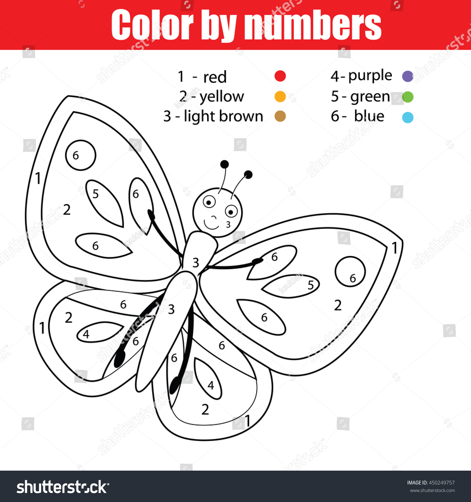 Coloring Page Butterfly Color By Numbers Stock Vector
