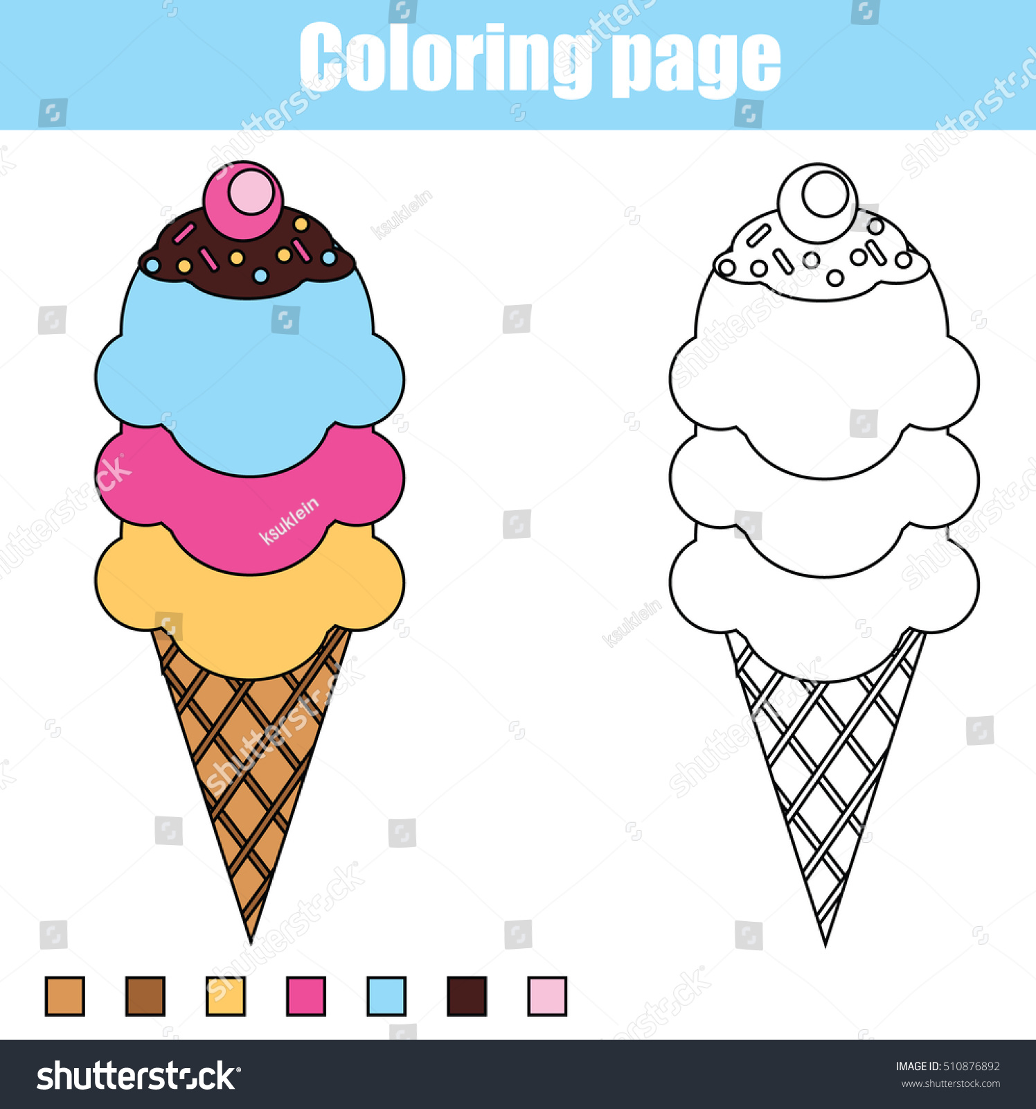 Coloring Page Ice Cream Cone Color Stock Vector Royalty Free 510876892