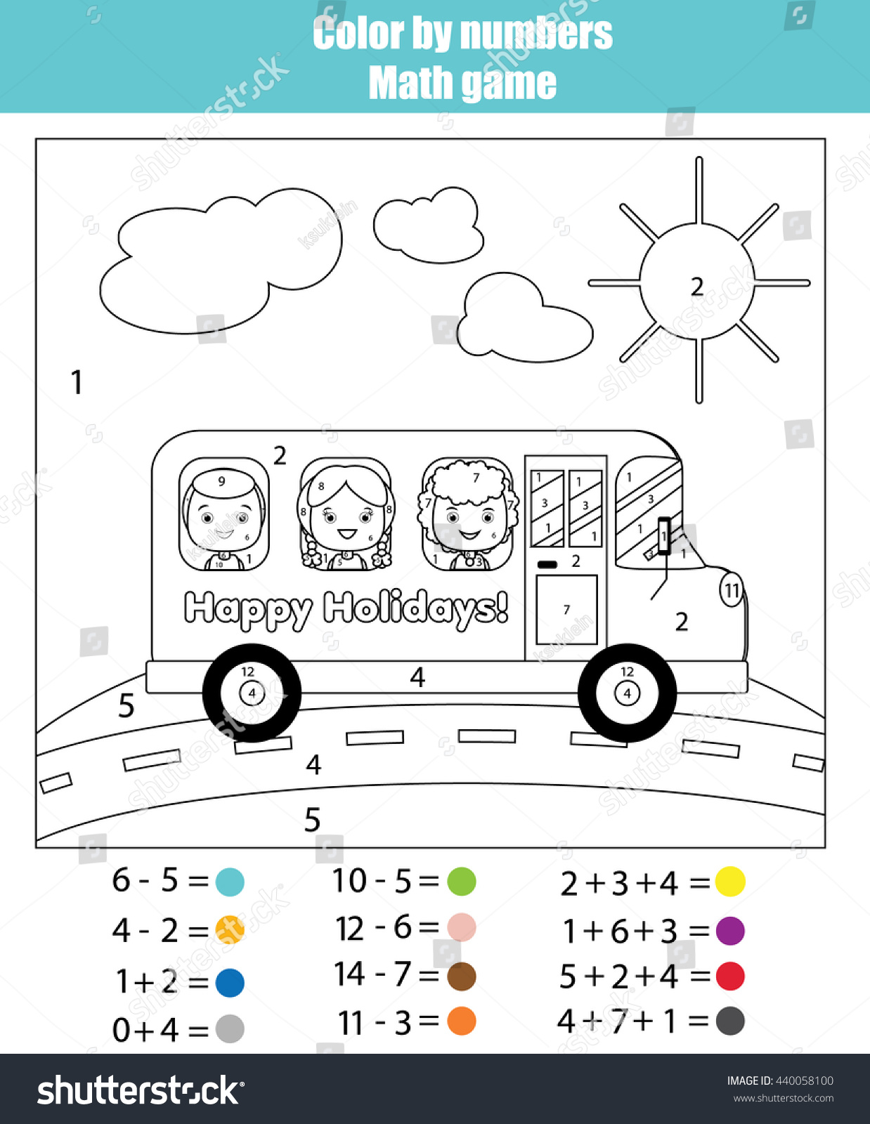 Coloring Page Kids Traveling School Bus Stock Vector