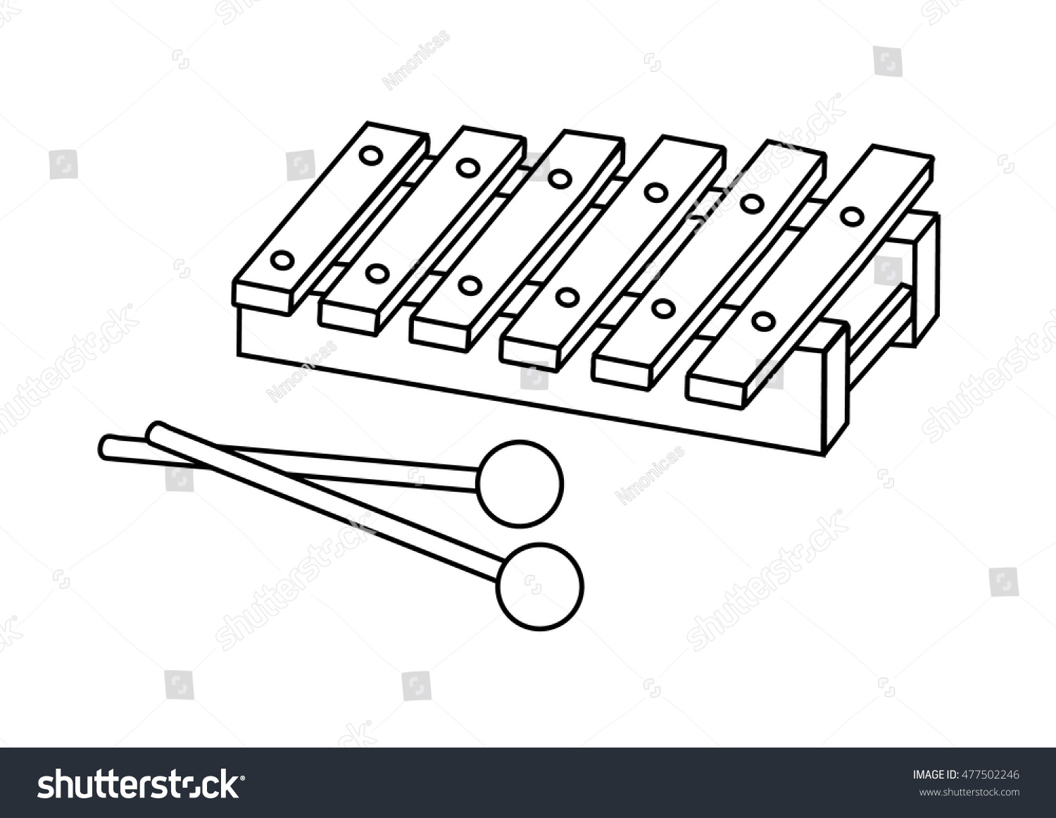 Coloring Page Xylophone Stock Vector 477502246 Shutterstock