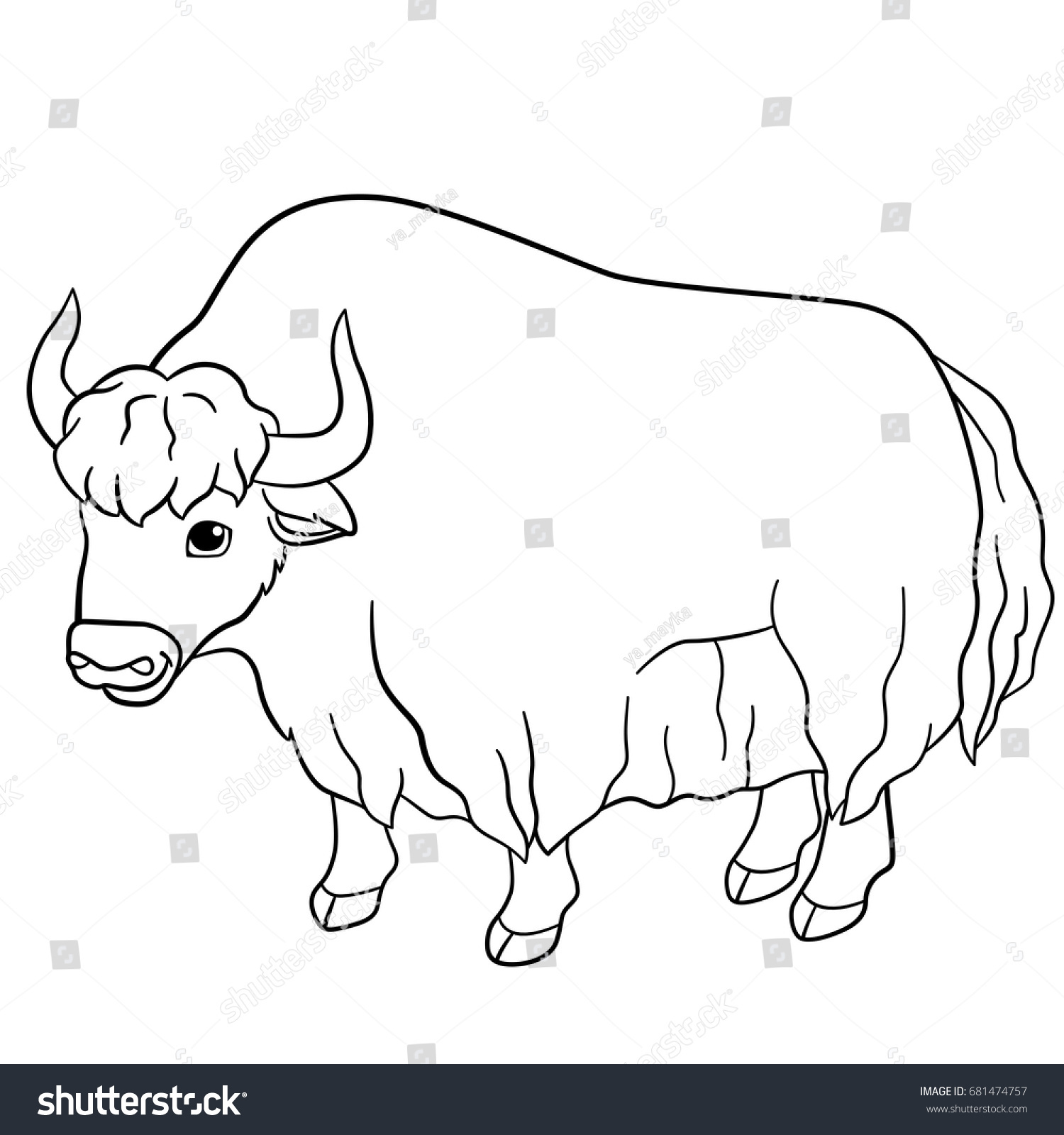 Coloring Pages Cute Beautiful Yak Stands Stock Vector 681474757