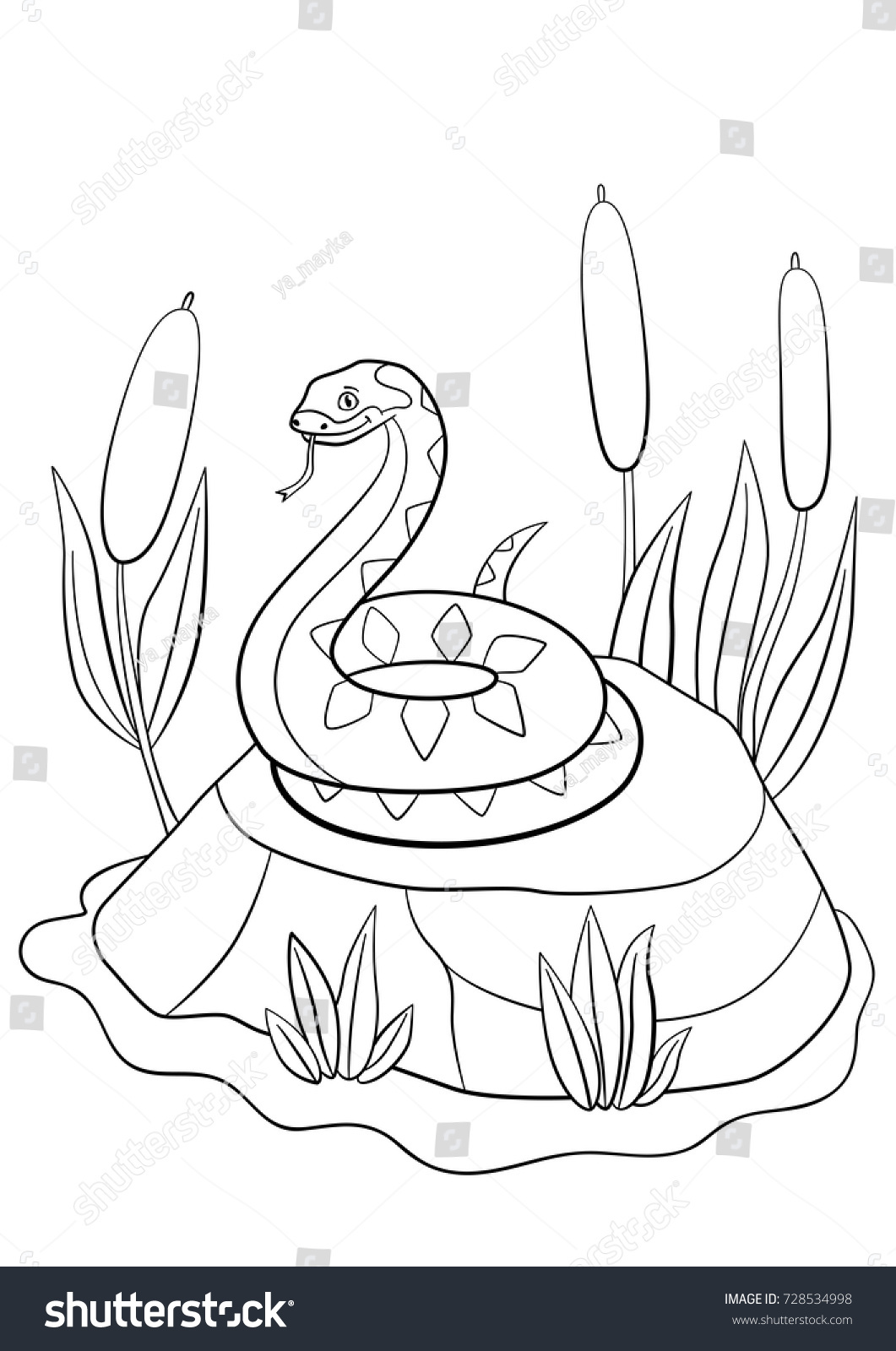 Coloring Pages Little Cute Viper Lies Stock Vector 728534998