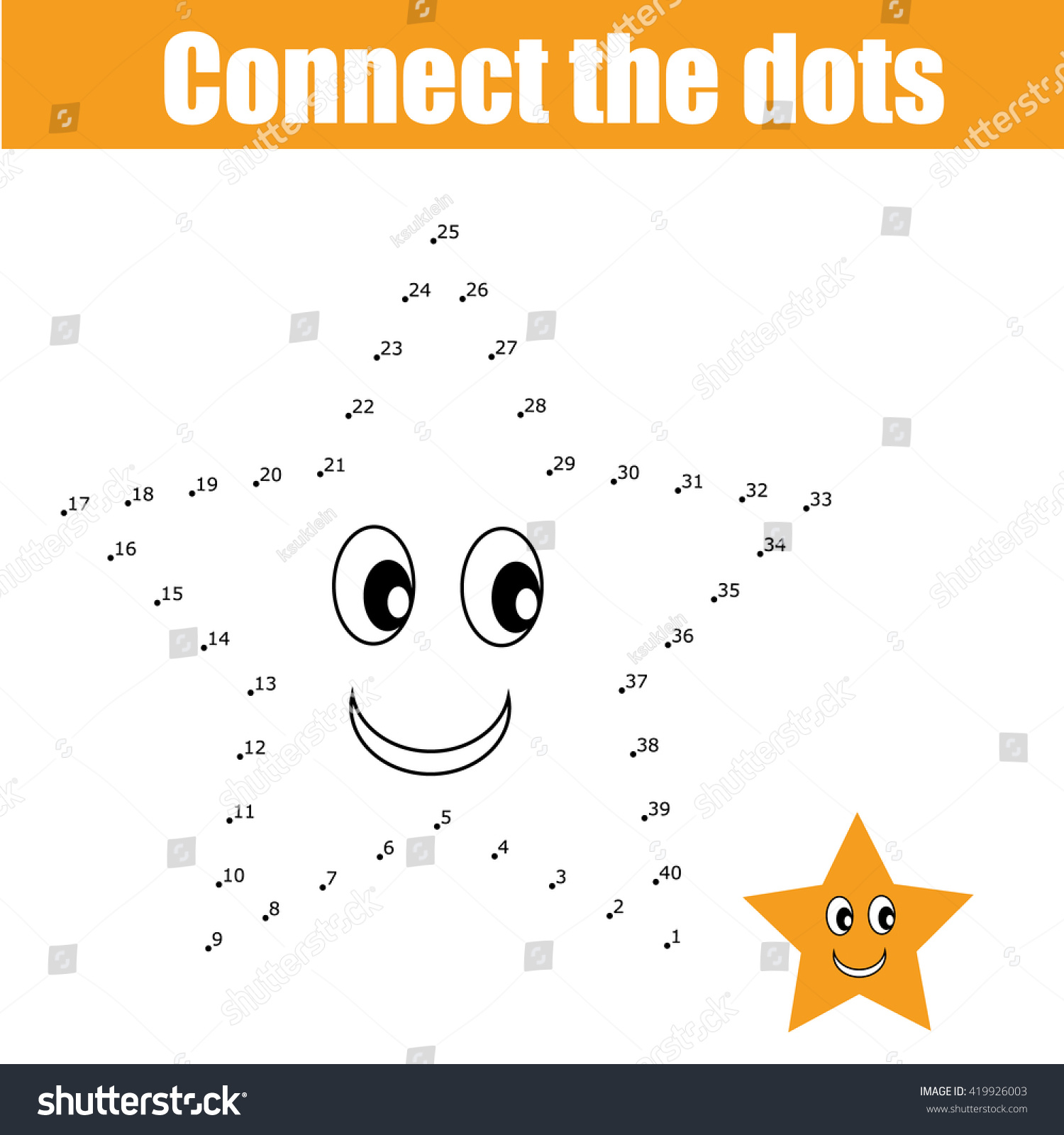 Connect Dots Educational Drawing Children Game Stock