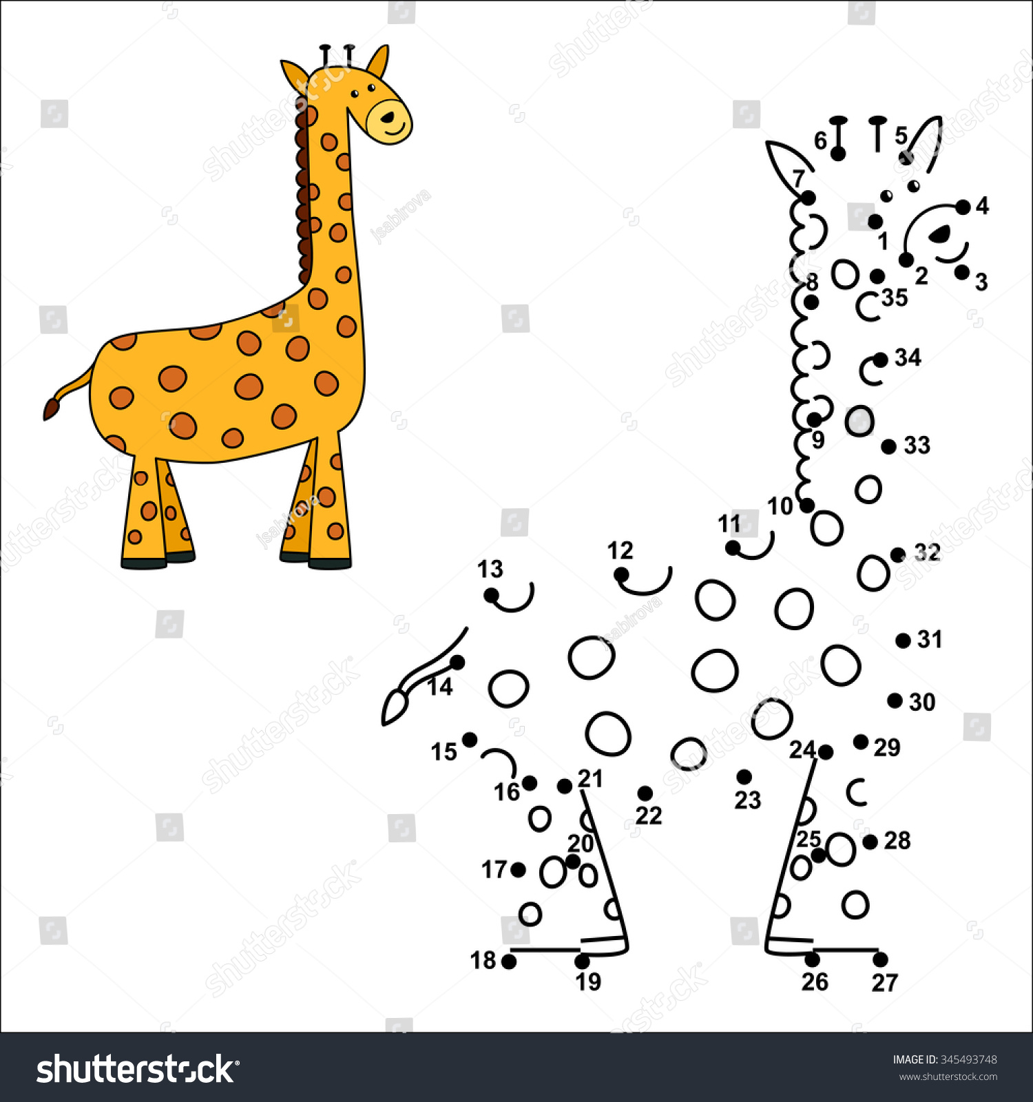 Connect Dots Draw Cute Giraffe Color Stock Vector