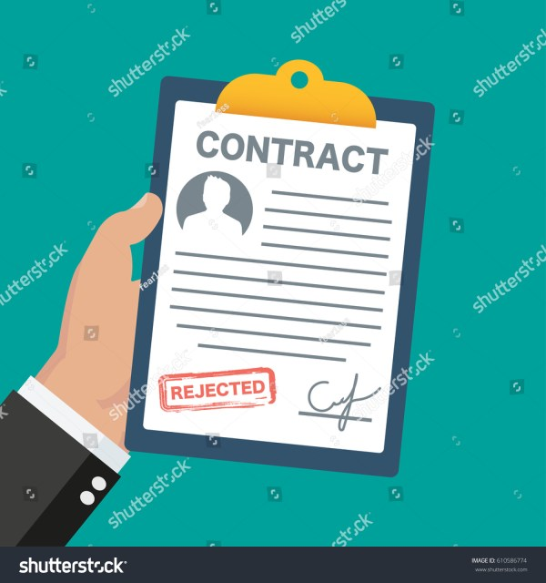 Contract Rejected Vector Illustration Signed Treaty Stock ...