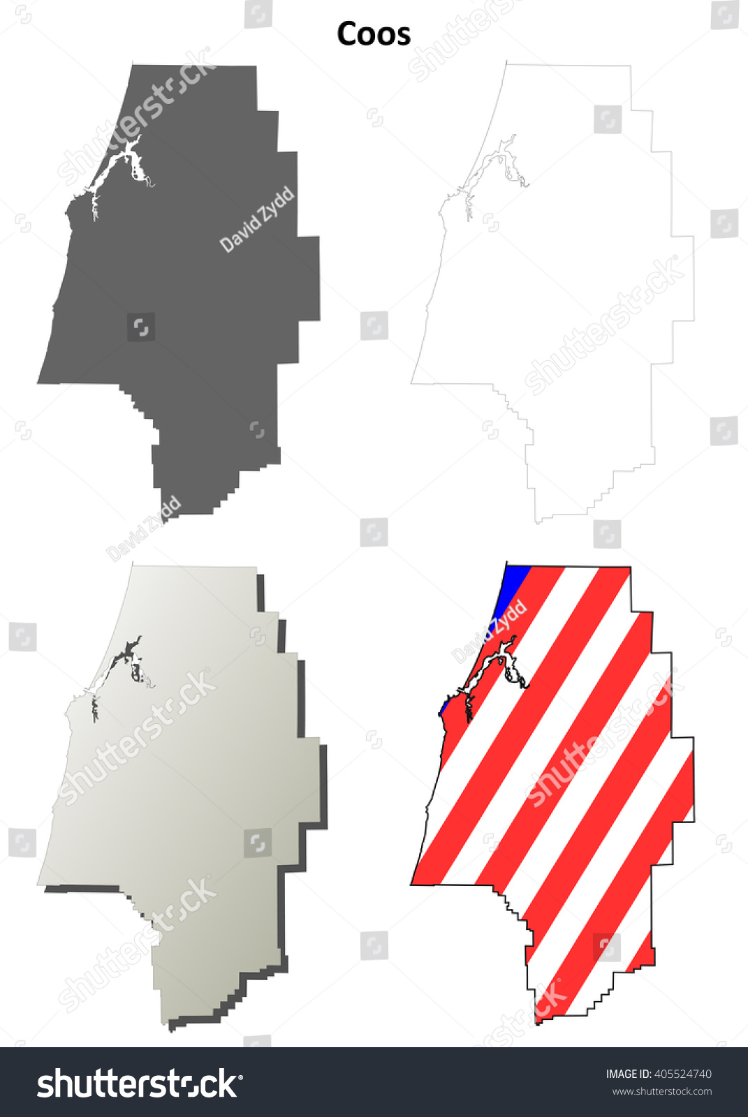Coos County Oregon Blank Outline Map Set Stock Vector Illustration Shutterstock