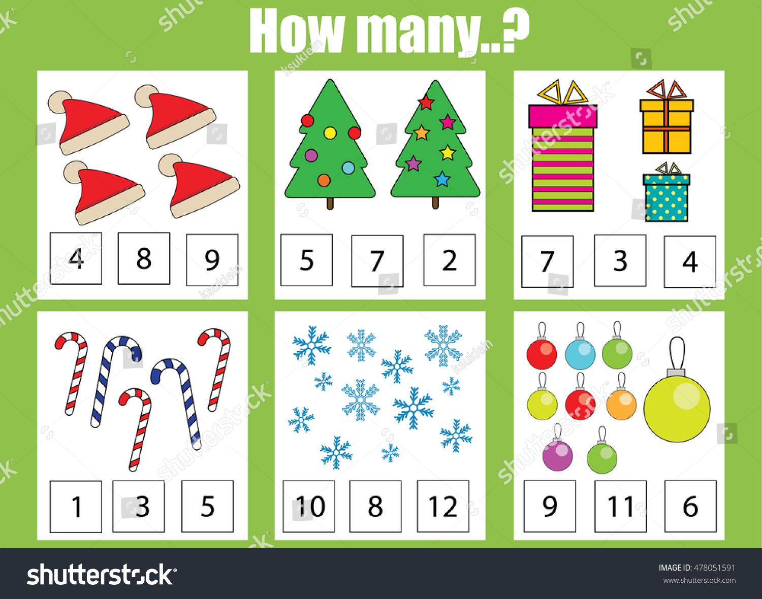 Counting Educational Children Game Kids Activity Stock Vector