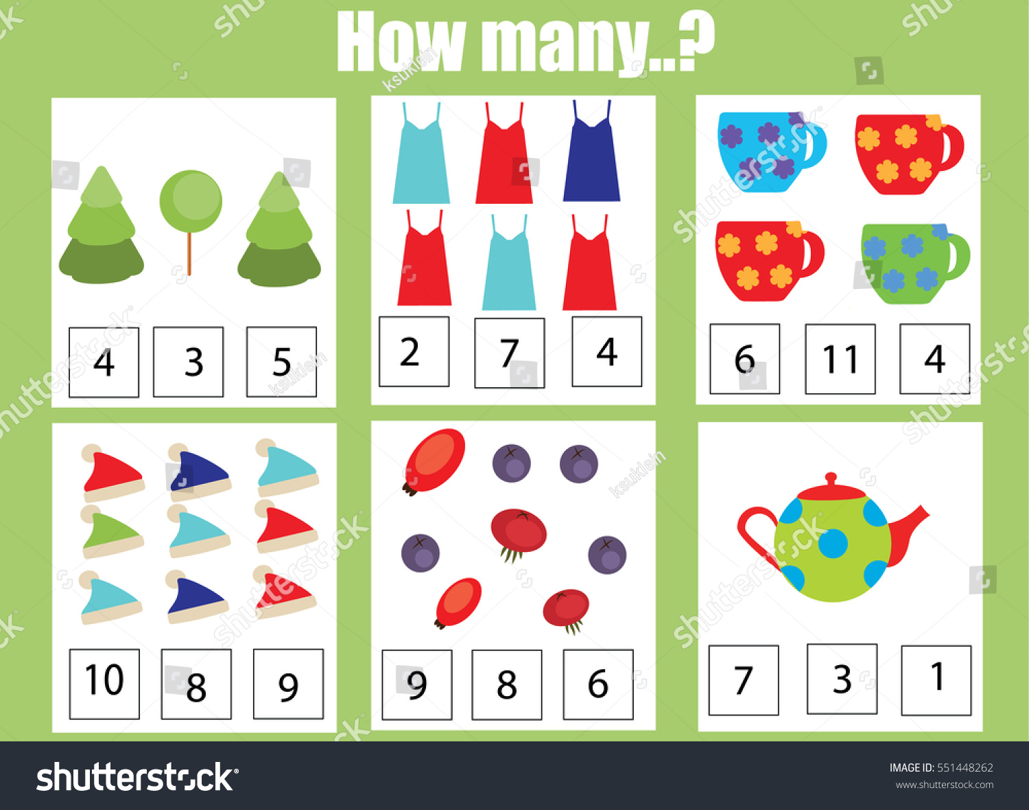 Counting Educational Children Game Kids Activity Stock