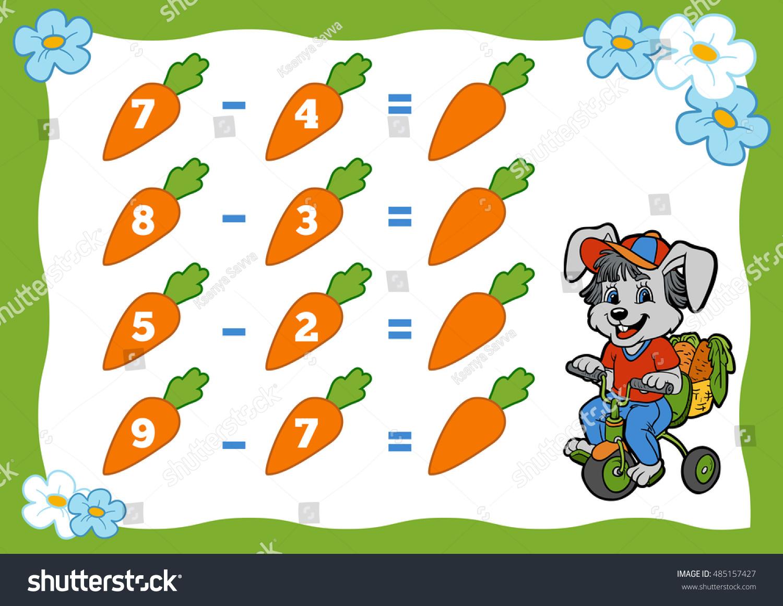 Counting Game Preschool Children Subtraction Worksheets