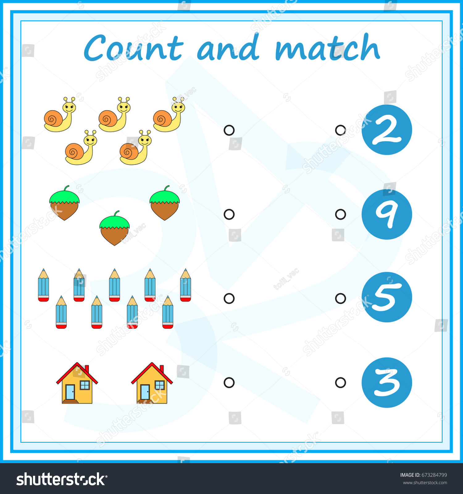 Counting Game Preschool Kids Educational Mathematical