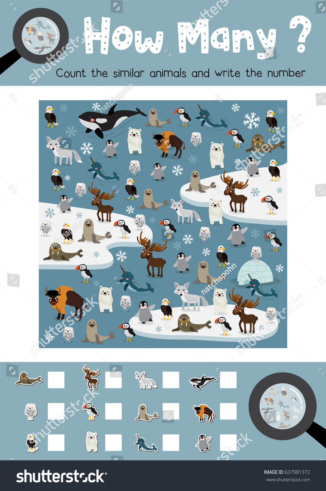 Counting Game Arctic Animals Preschool Kids Stock Vector