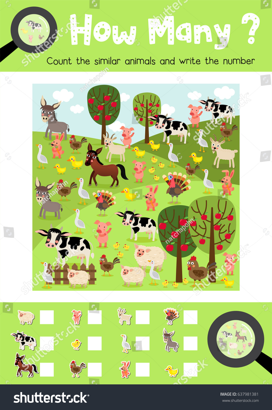 Counting Game Farm Animals Preschool Kids Stock Vector