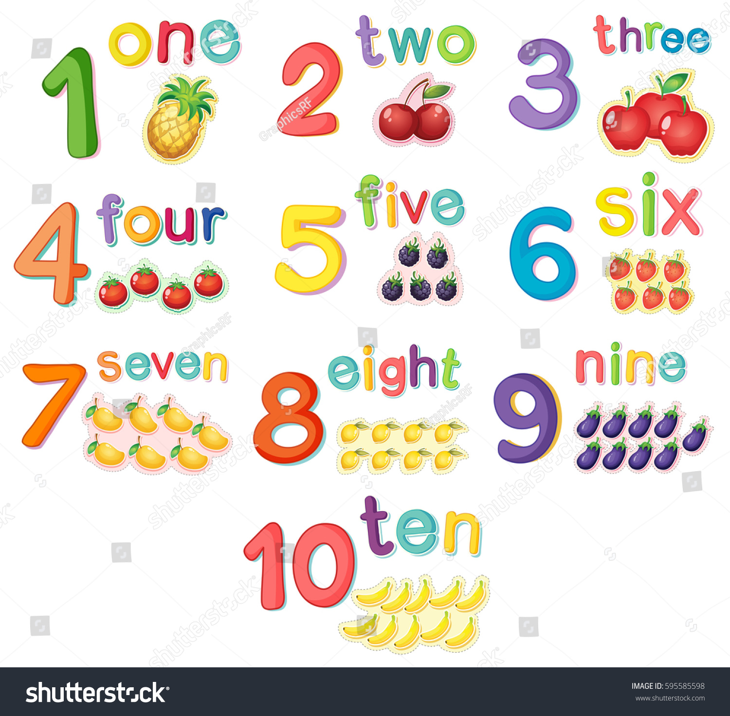 Counting Numbers Fruits Illustration Stock Vector