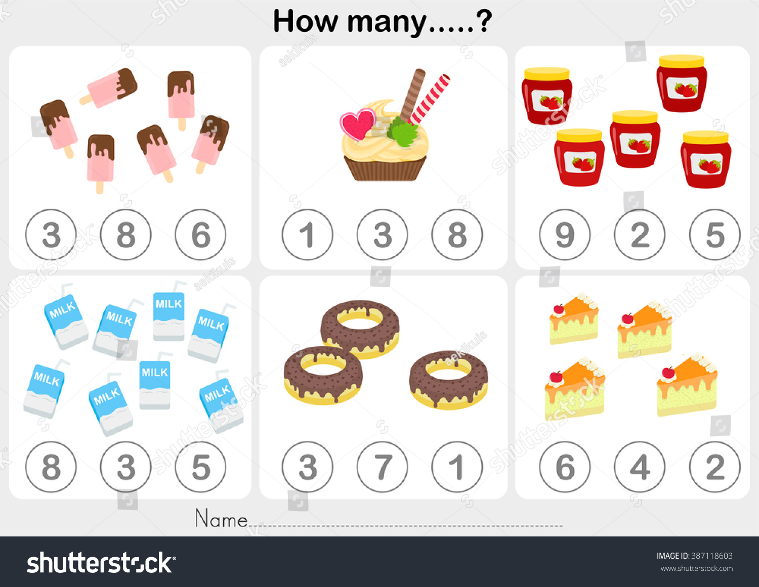 Counting Object Kids Education Worksheet Stock Vector