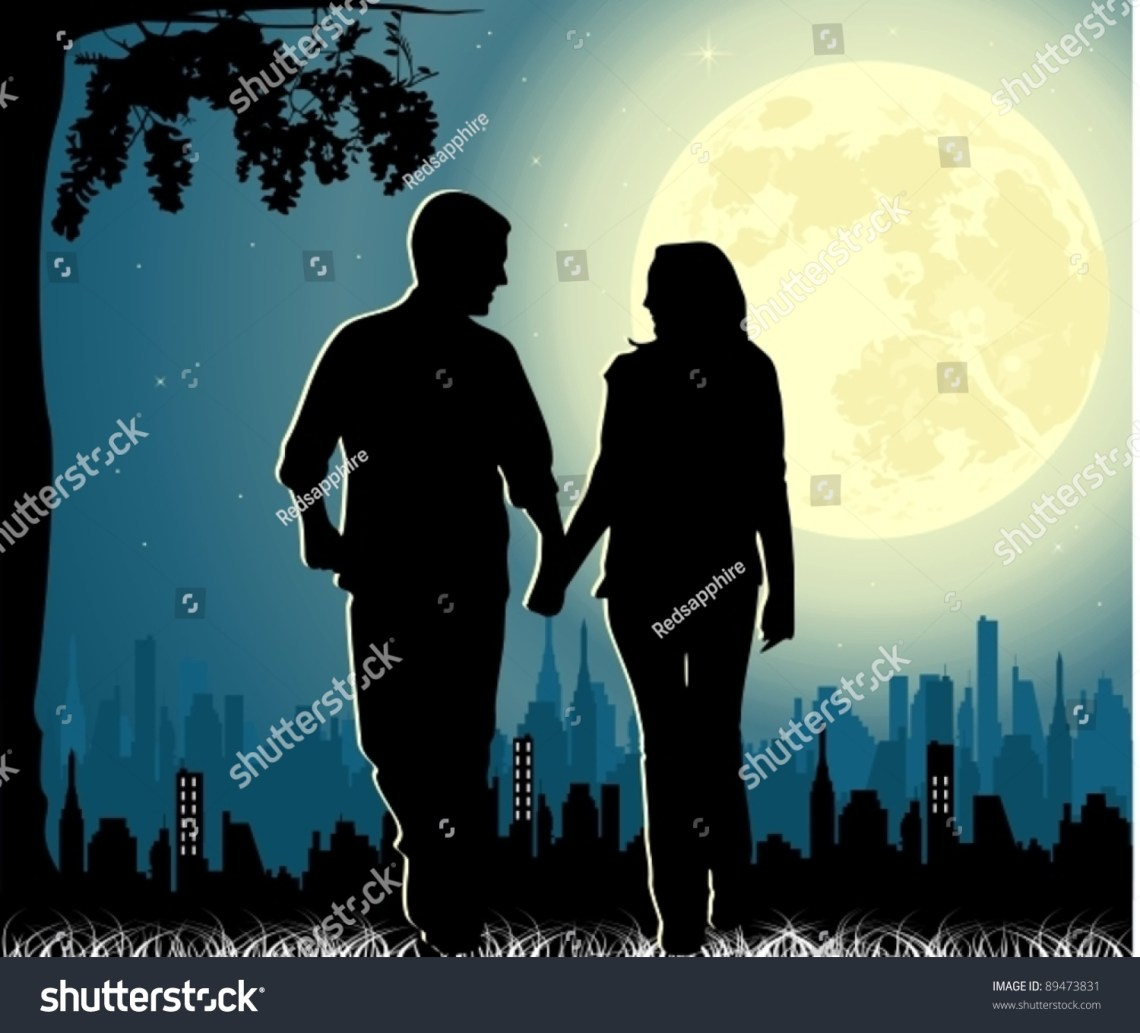 Download Couple In Love Walking On The Moonlight Stock Vector ...
