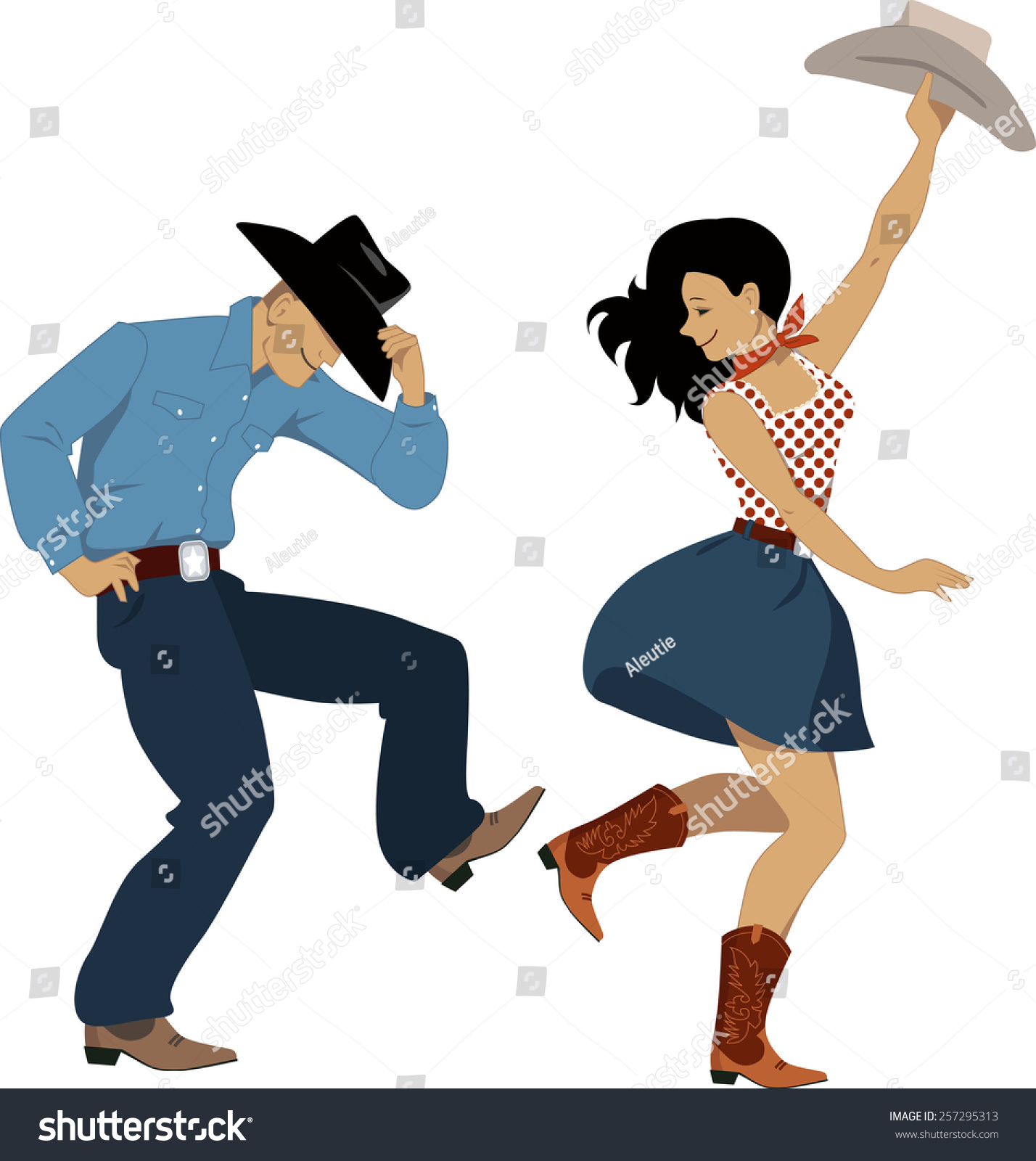 Cowboy Cowgirl Dancing Country Western Dance Stock Vector