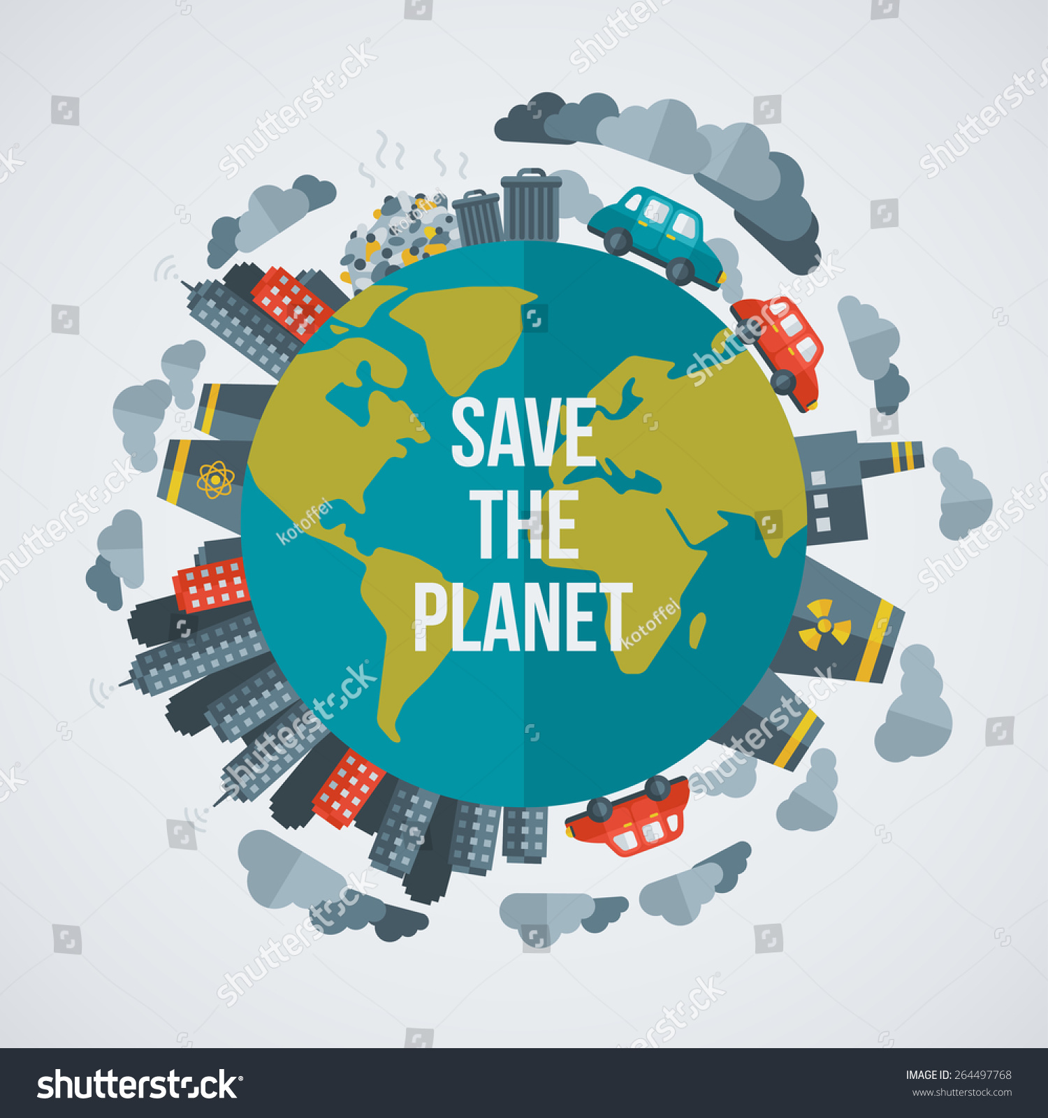 Creative Concept Save Planet Vector Illustration Stock