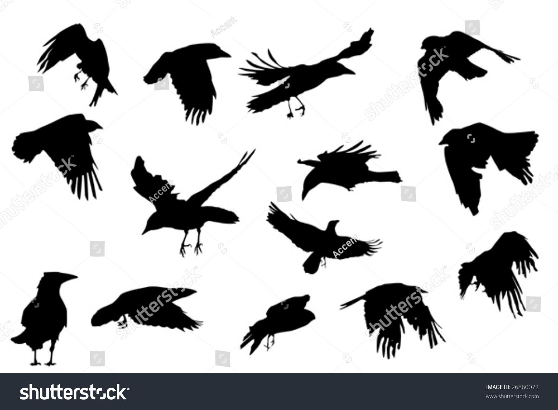 Crows In Flight Silhouette
