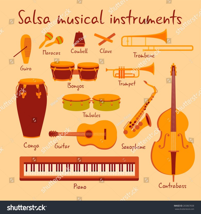 cuban salsa mambo musical instruments extended stock-vektorgrafik