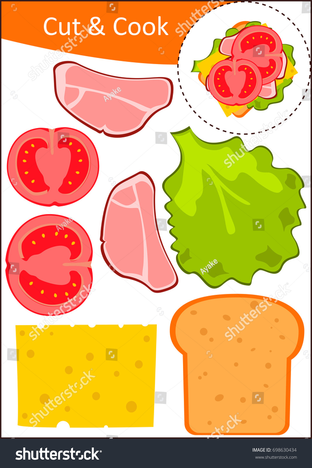 Cut Glue Worksheet Make Sandwich Stock Vector