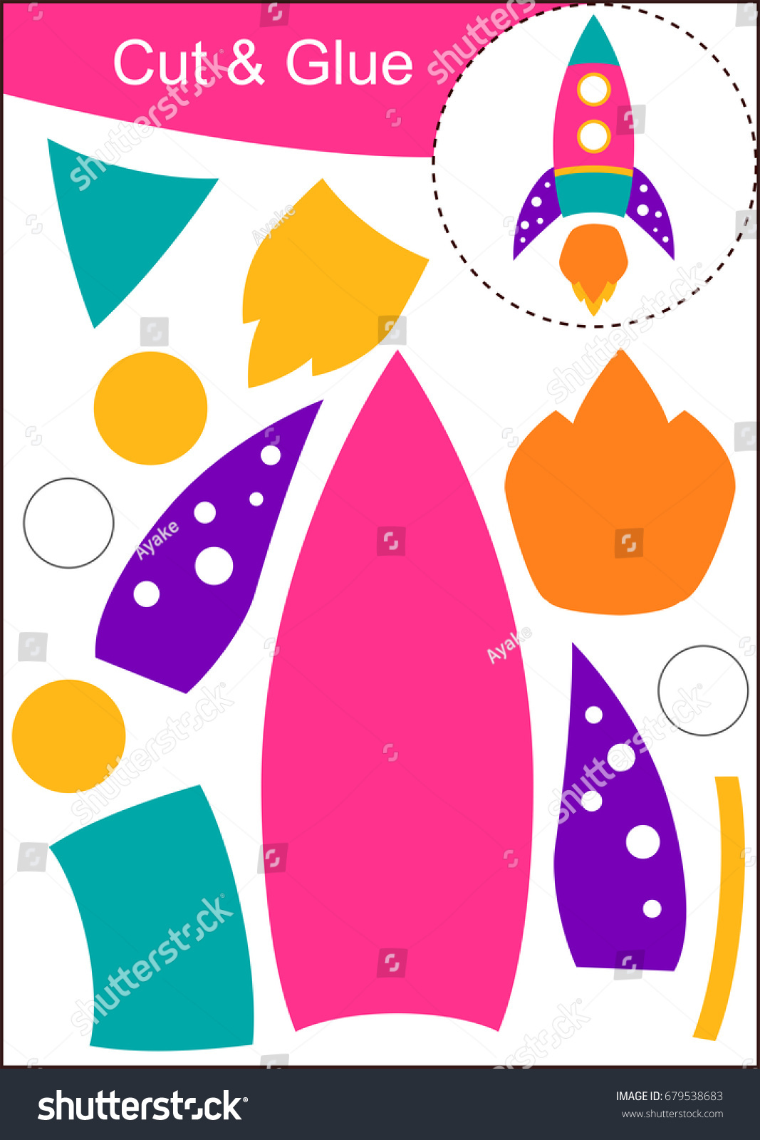 Cut Paste Worksheet Pink Rocket Stock Vector