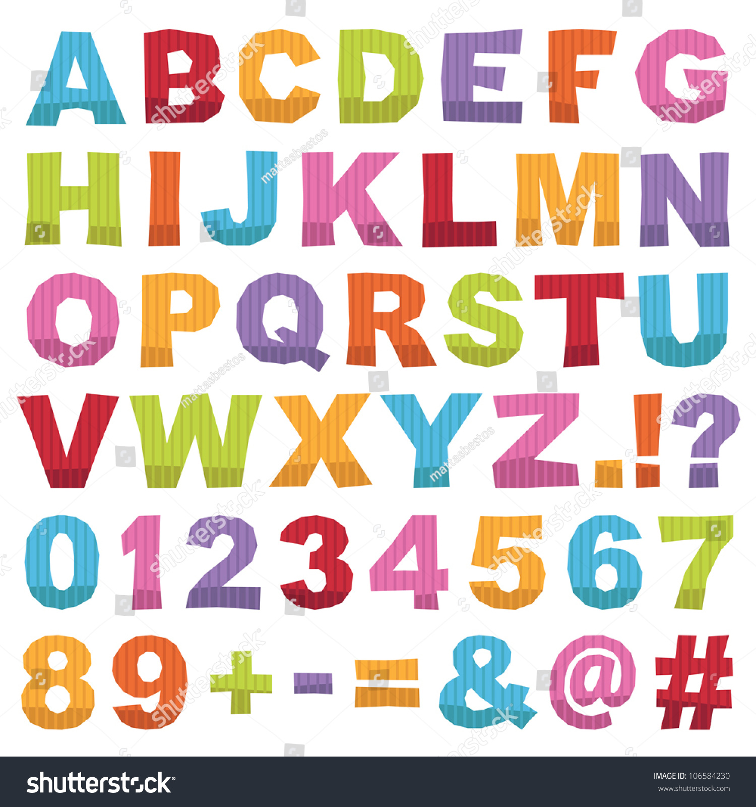 Cut Out Alphabet Shapes With Letters Numbers And