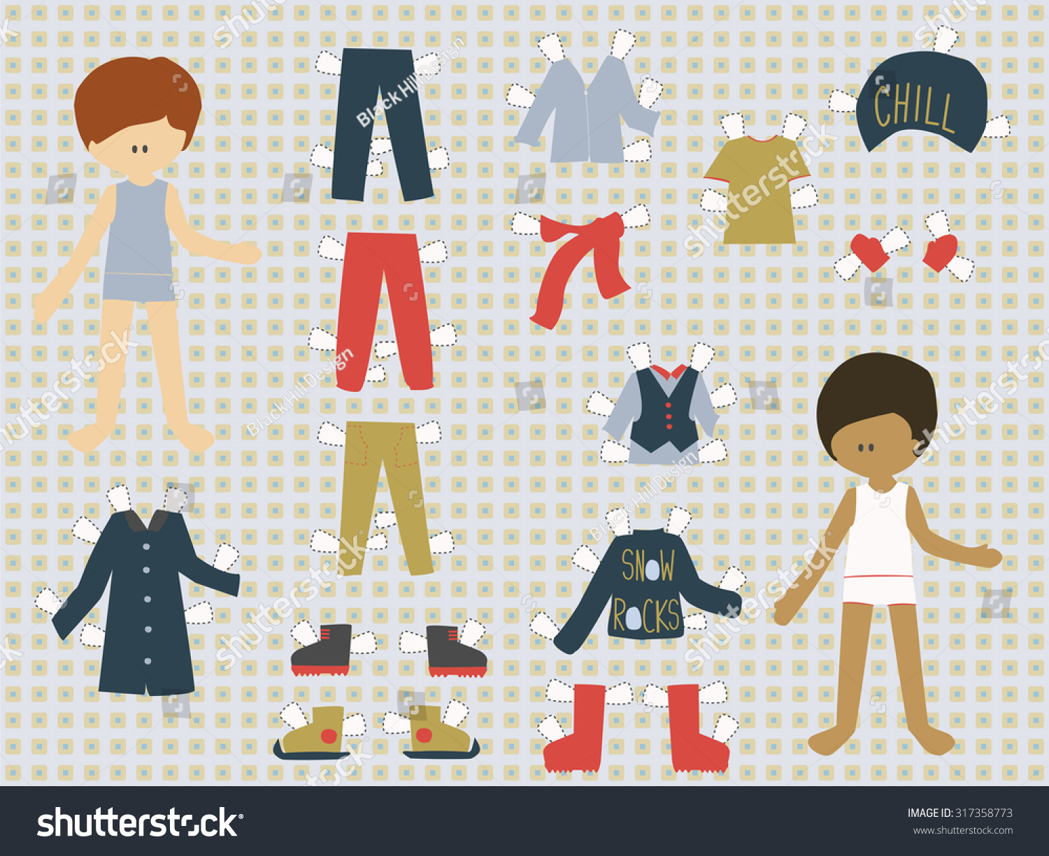 Cutout Dressing Clothes Paper Doll Boys Stock Vector