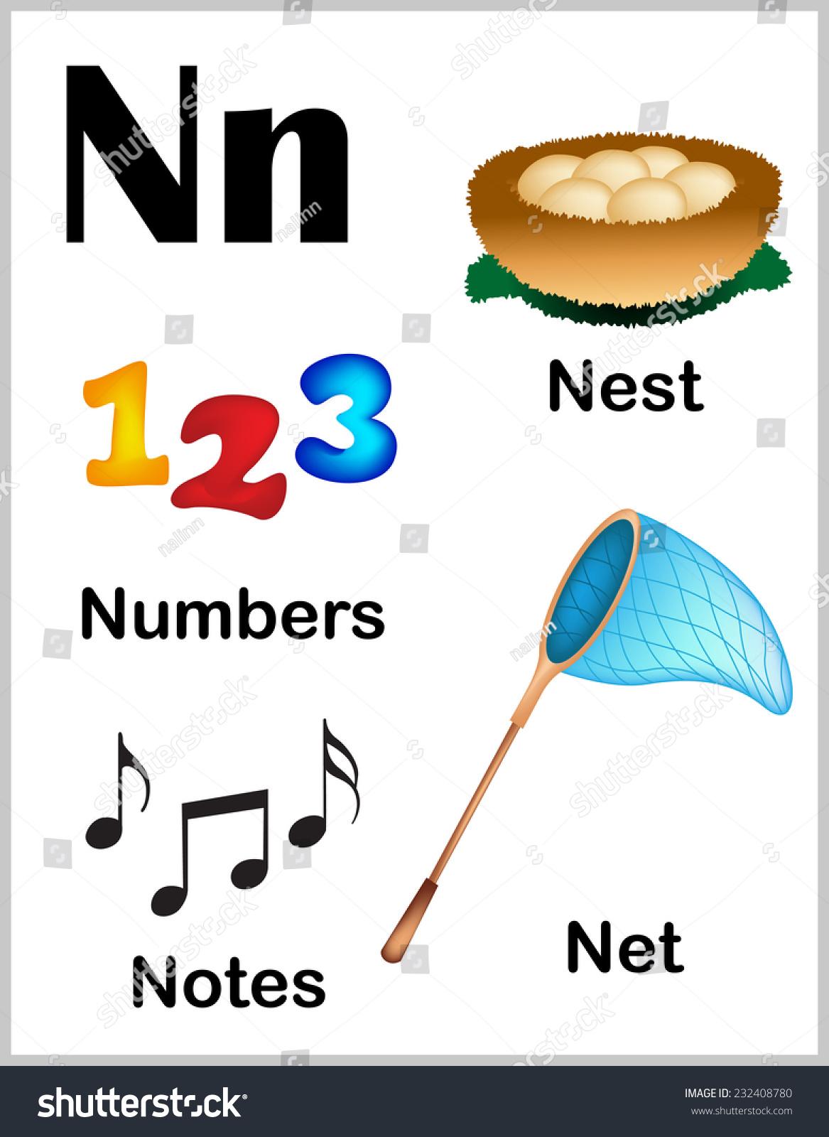 Cute Colorful Alphabet Letter N Set Stock Vector