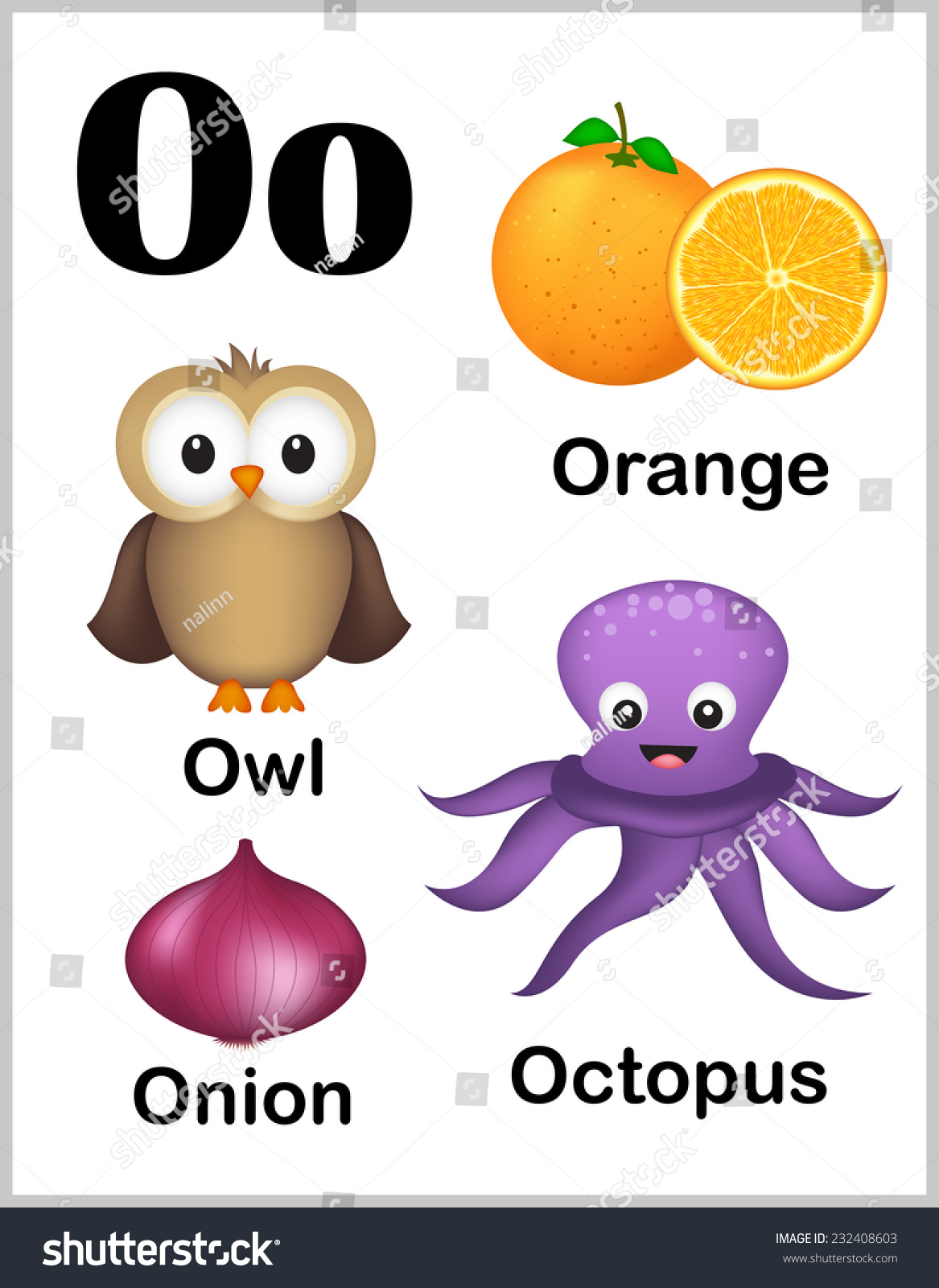 Cute Colorful Alphabet Letter O Set Stock Vector