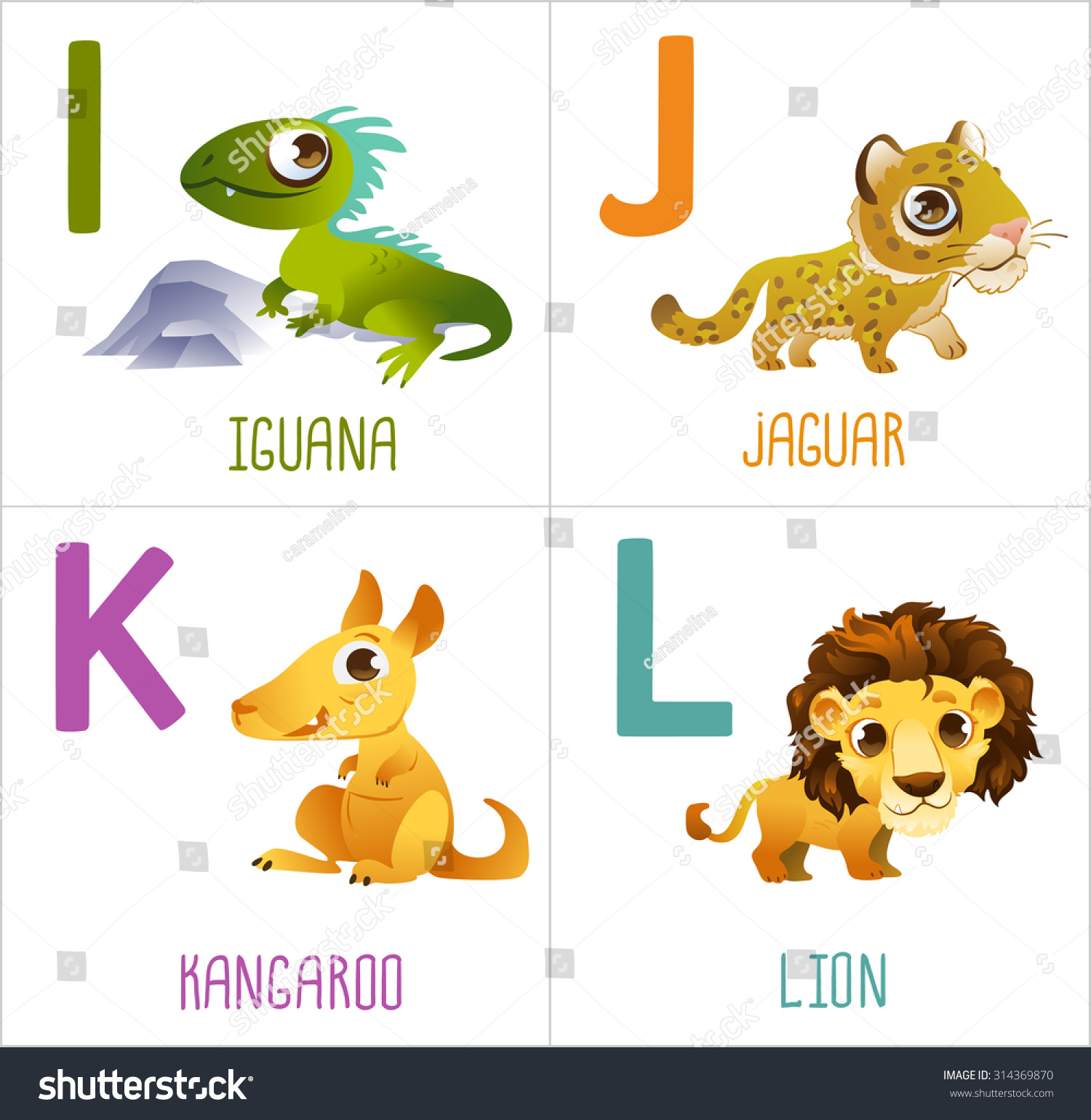 Cute Cartoon Animals Alphabet Kids Funny Stock Vector