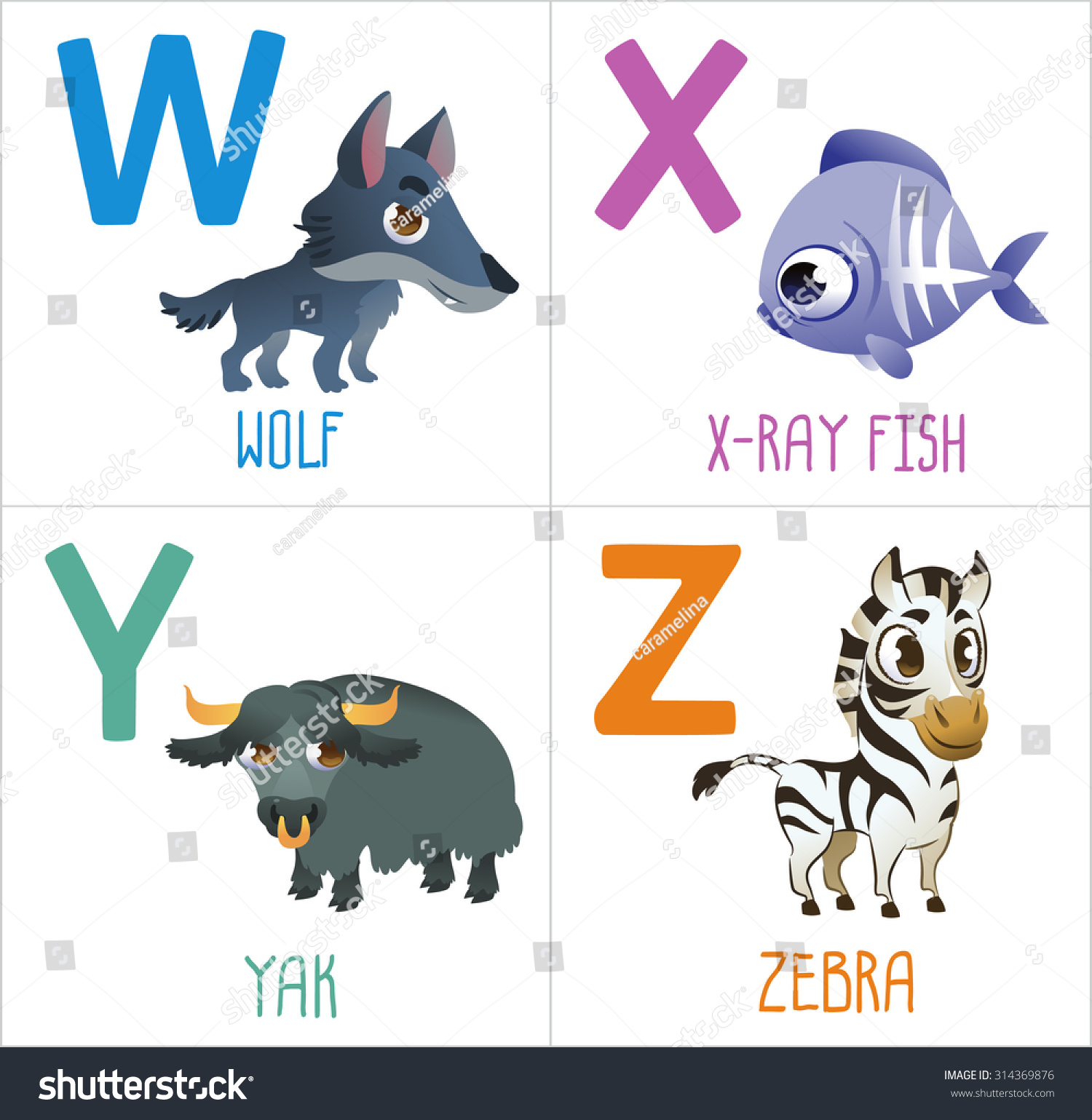 Cute Cartoon Animals Alphabet For Kids Funny Letters