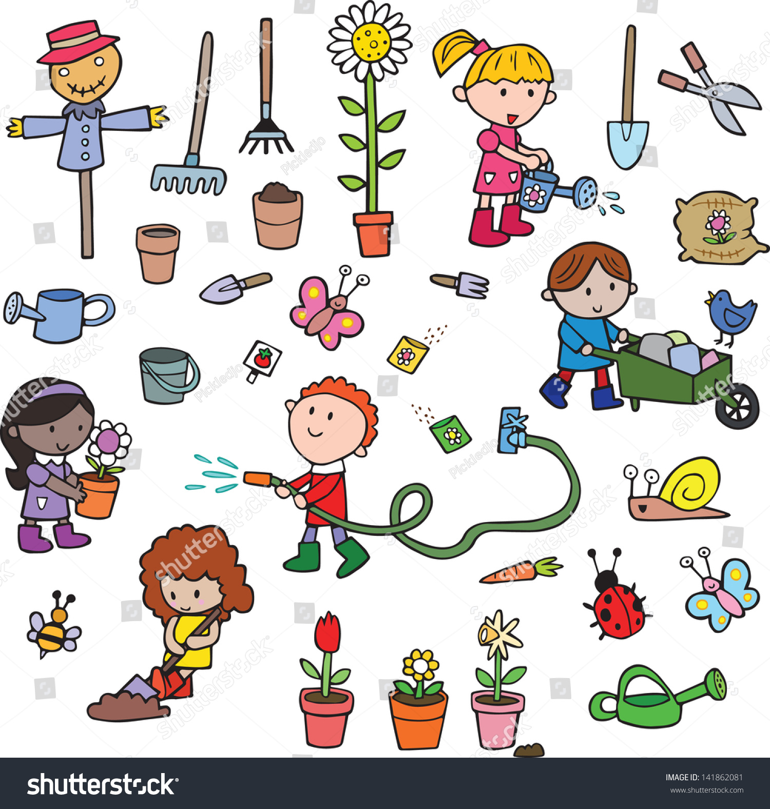 Cute Cartoon Gardening Children Eco Collection Stock
