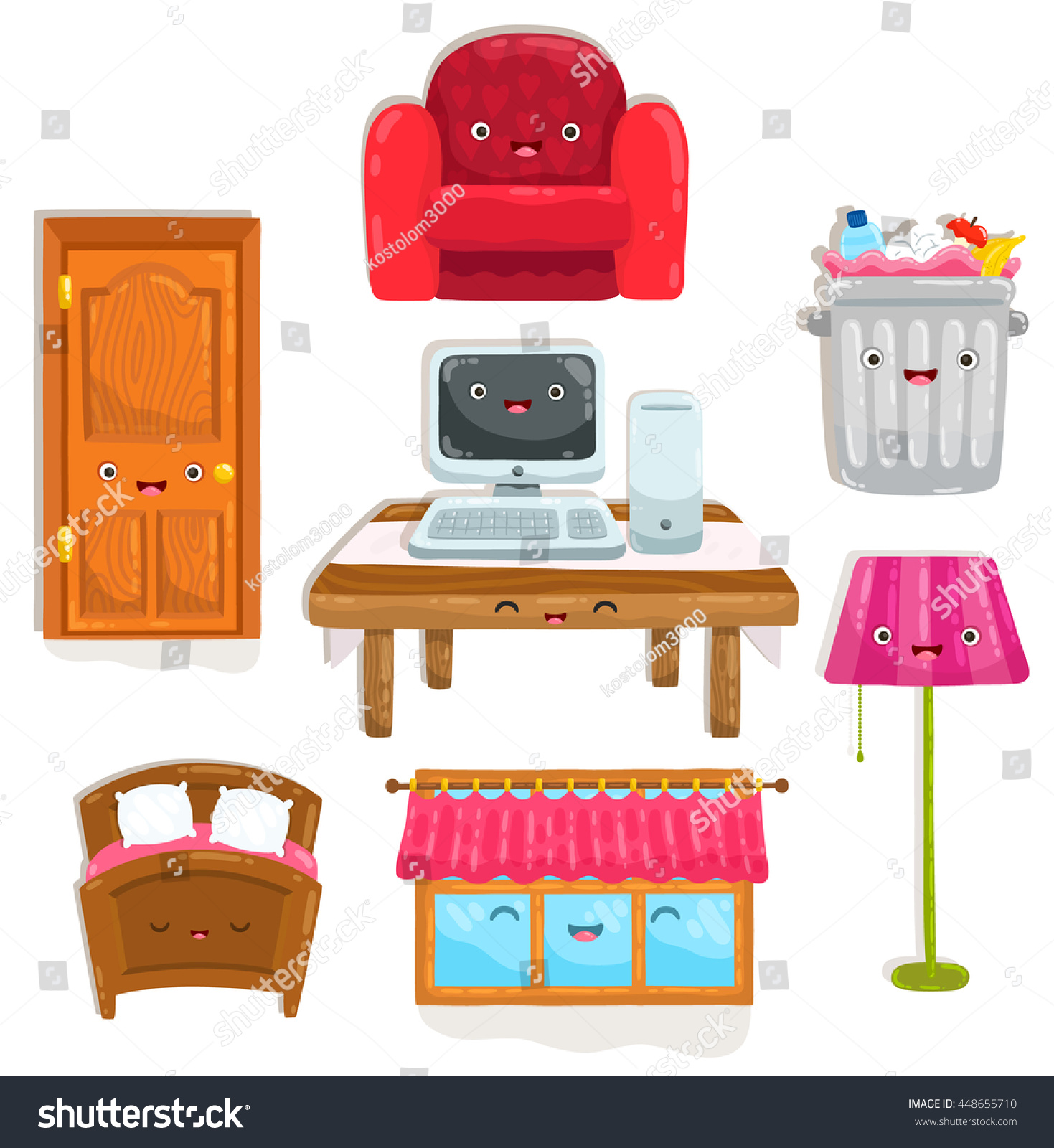 Cute Cartoon Home Objects Chair Table Stock Vector Royalty