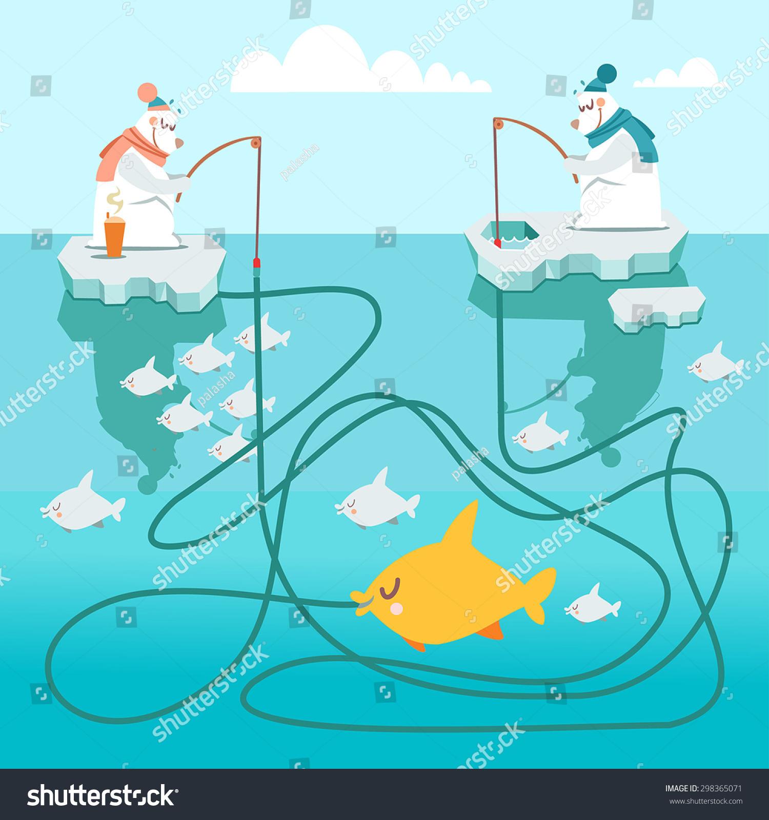 Bears Catching Fish Cartoon