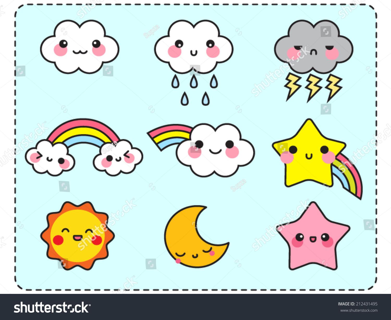Cute Cloud Sun Moon Star Rainbow Stock Vector
