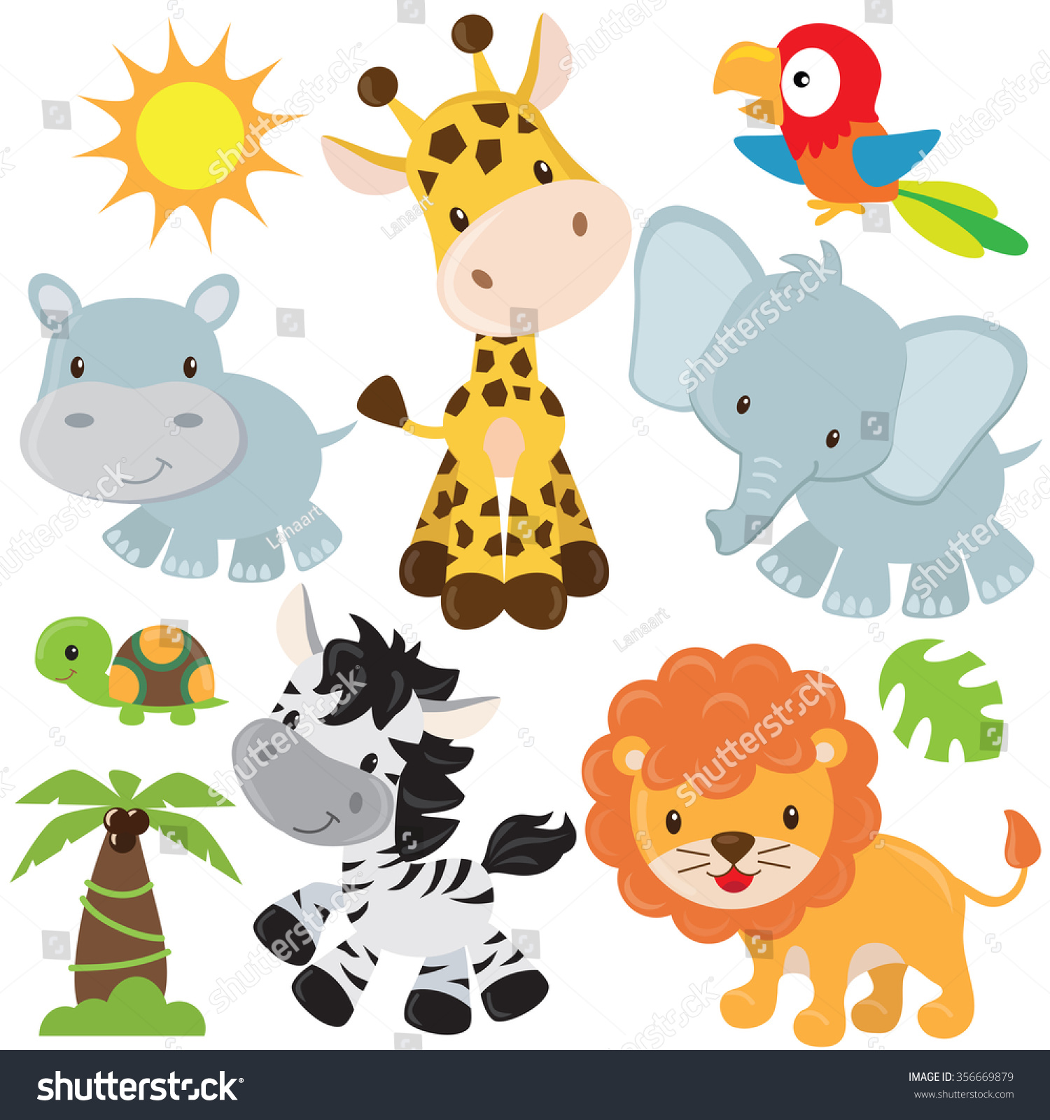 Cute Jungle Animals Vector Illustration Stock Vector